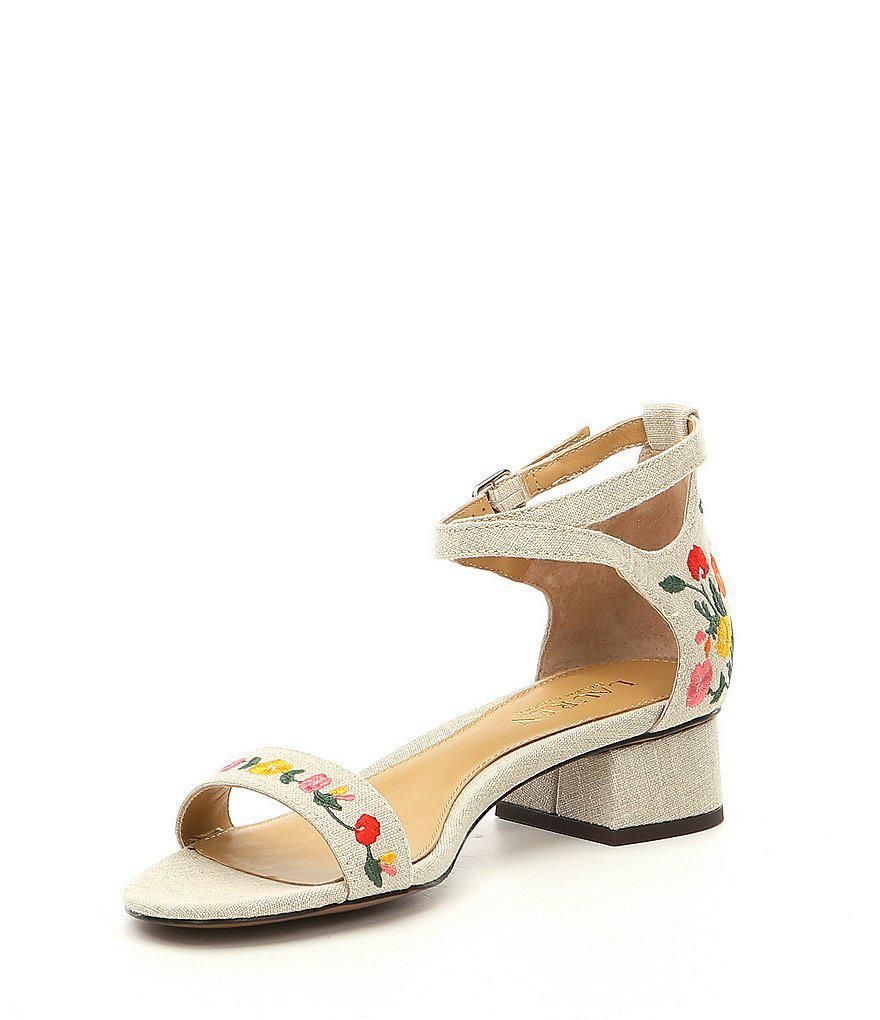 Lauren Ralph Lauren Betha II Floral Embroidered Linen Ankle Strap Block Heel Dress Sandals PKDuKpT