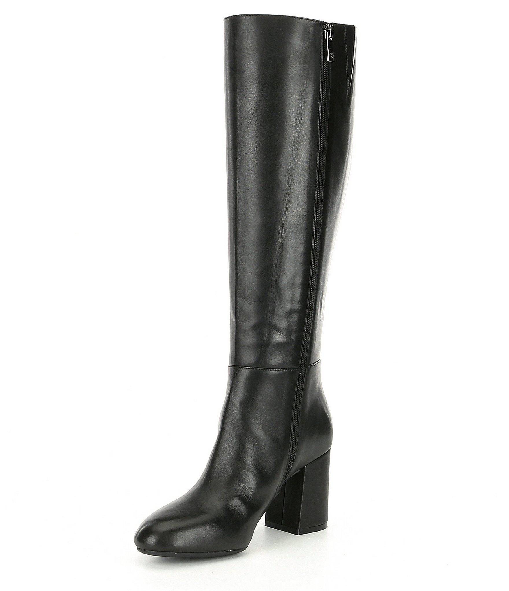 latest design cheap price on feet shots of Antonio Melani Bretal Narrow Calf Tall Block Heel Boots in Black ...