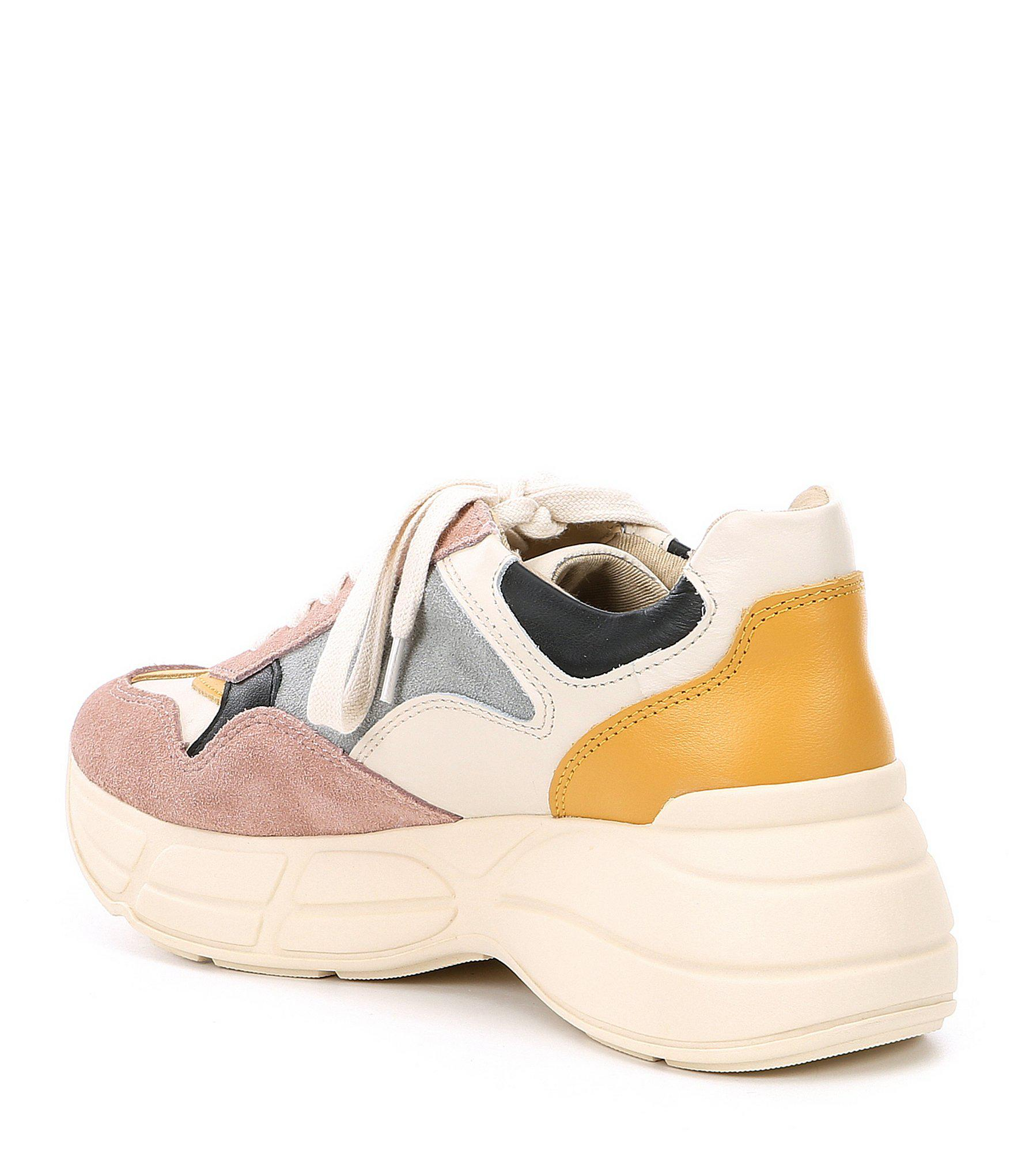 cbf772def11 Steve Madden - Pink Memory Leather Color Block Sneakers - Lyst. View  fullscreen