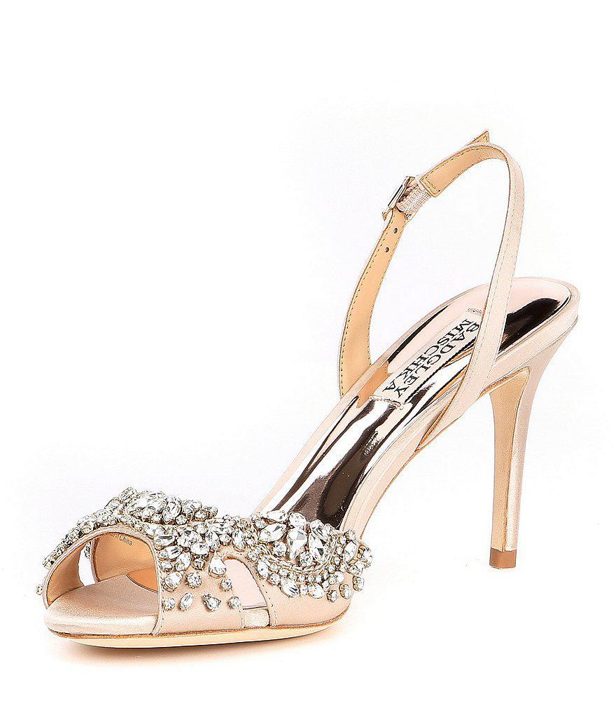 Paula Bejeweled Satin Slingback Sandals dXCqwN