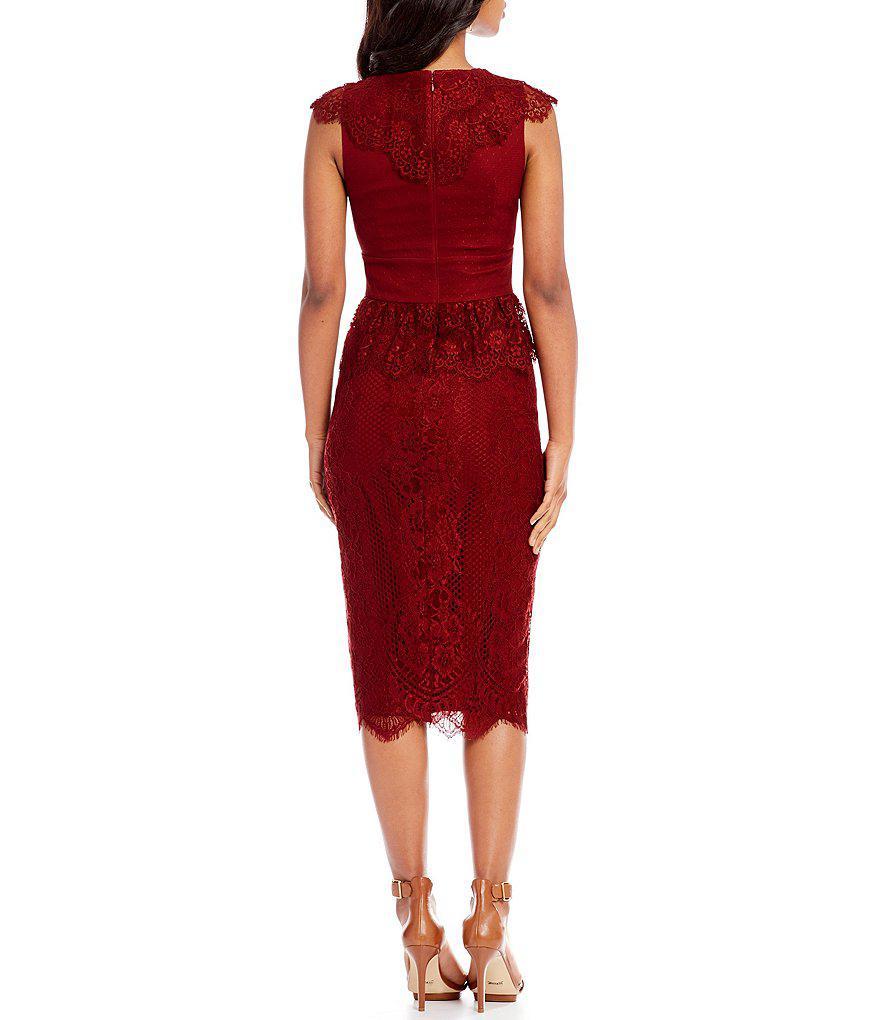 2683d1c3b83 Gianni Bini Melissa Lace Midi Dress in Red - Lyst