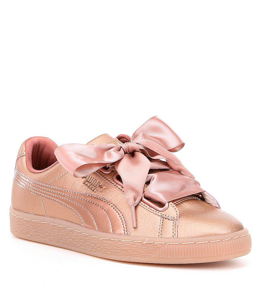 cheap for discount 37546 4ef6a Women's Pink Basket Heart Copper Sneakers
