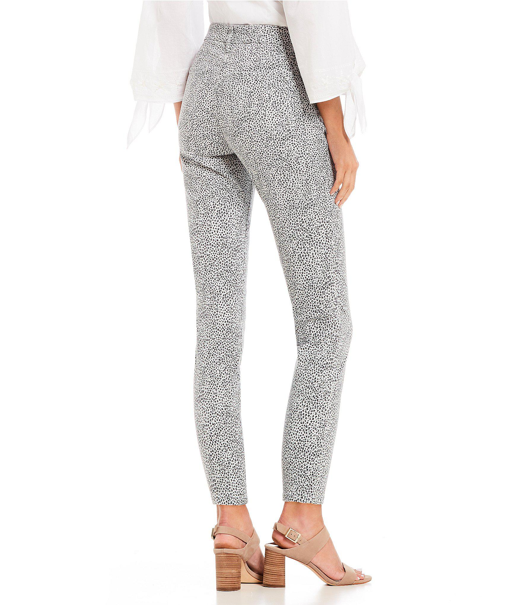 ca992a23cdfd NYDJ Ami Leopard Print Skinny Ankle Jeans in Gray - Lyst