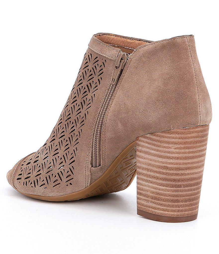 Jonah Suede Perforated Side Zip Peep-Toe Block Heel Shooties 68G3s0