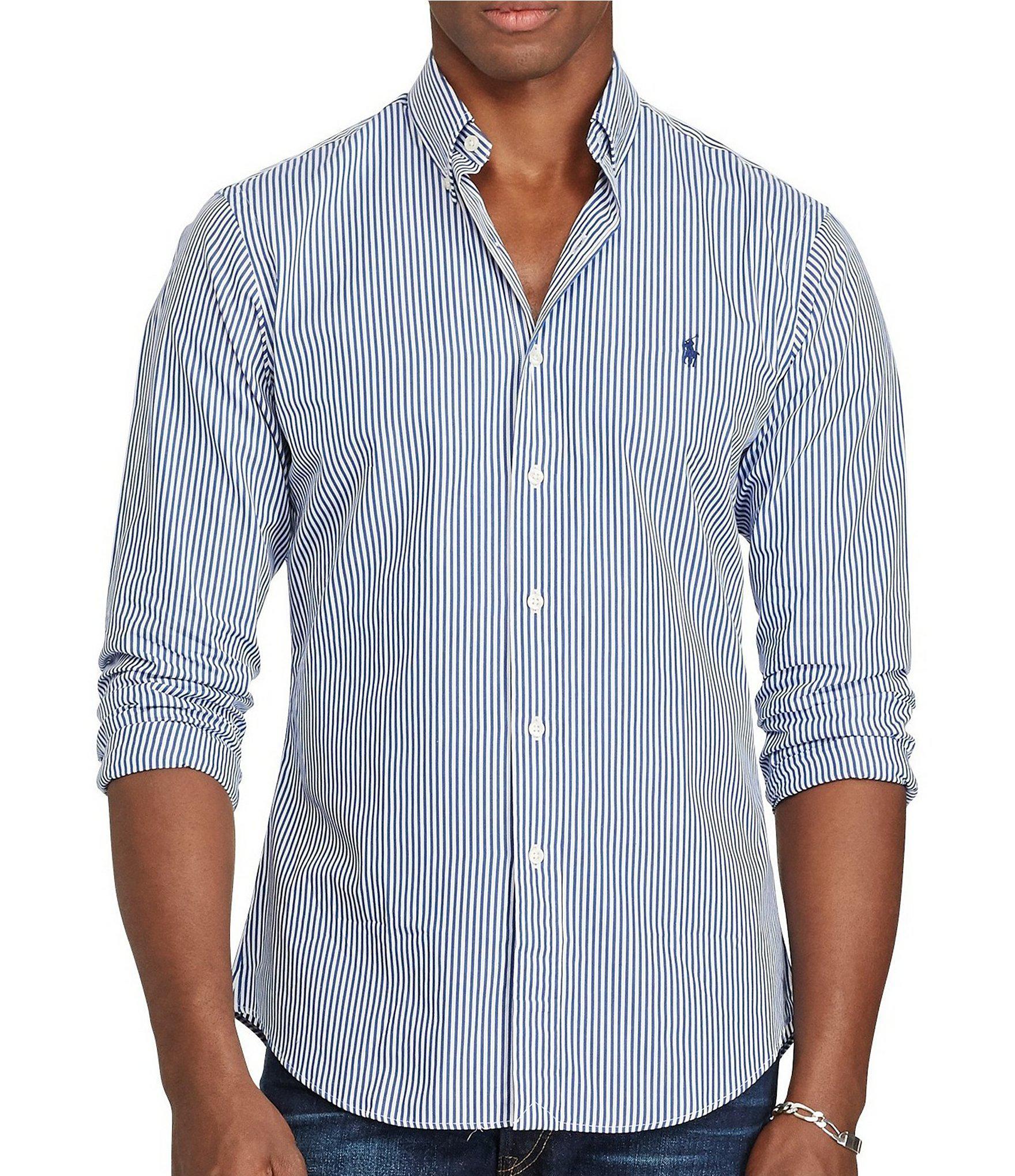 e438fda7b Polo Ralph Lauren Slim-fit Vertical Striped Poplin Long-sleeve Woven ...