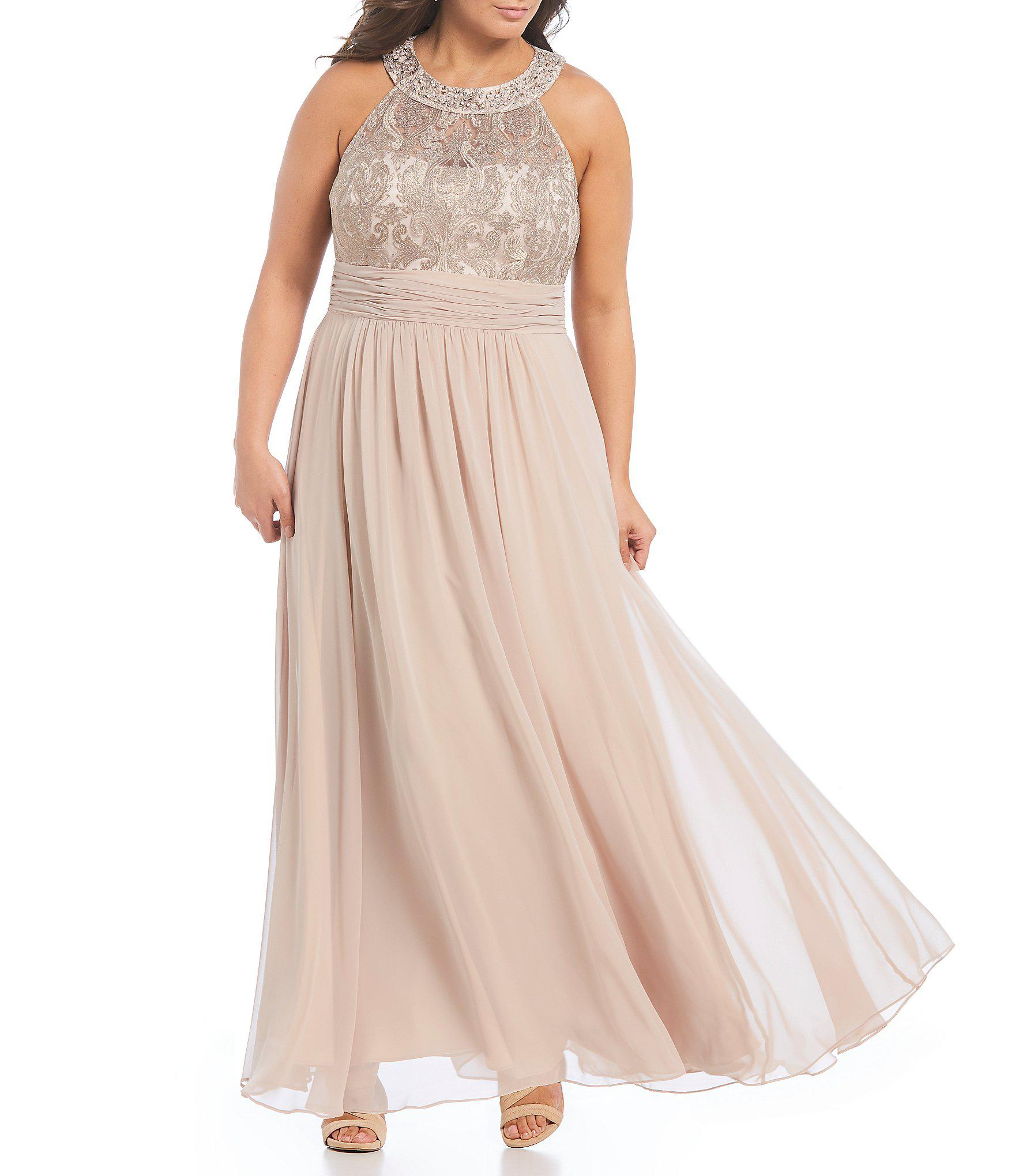 5379b778fdc Eliza J Plus Size Halter Sequin Lace Chiffon Gown in Natural - Lyst