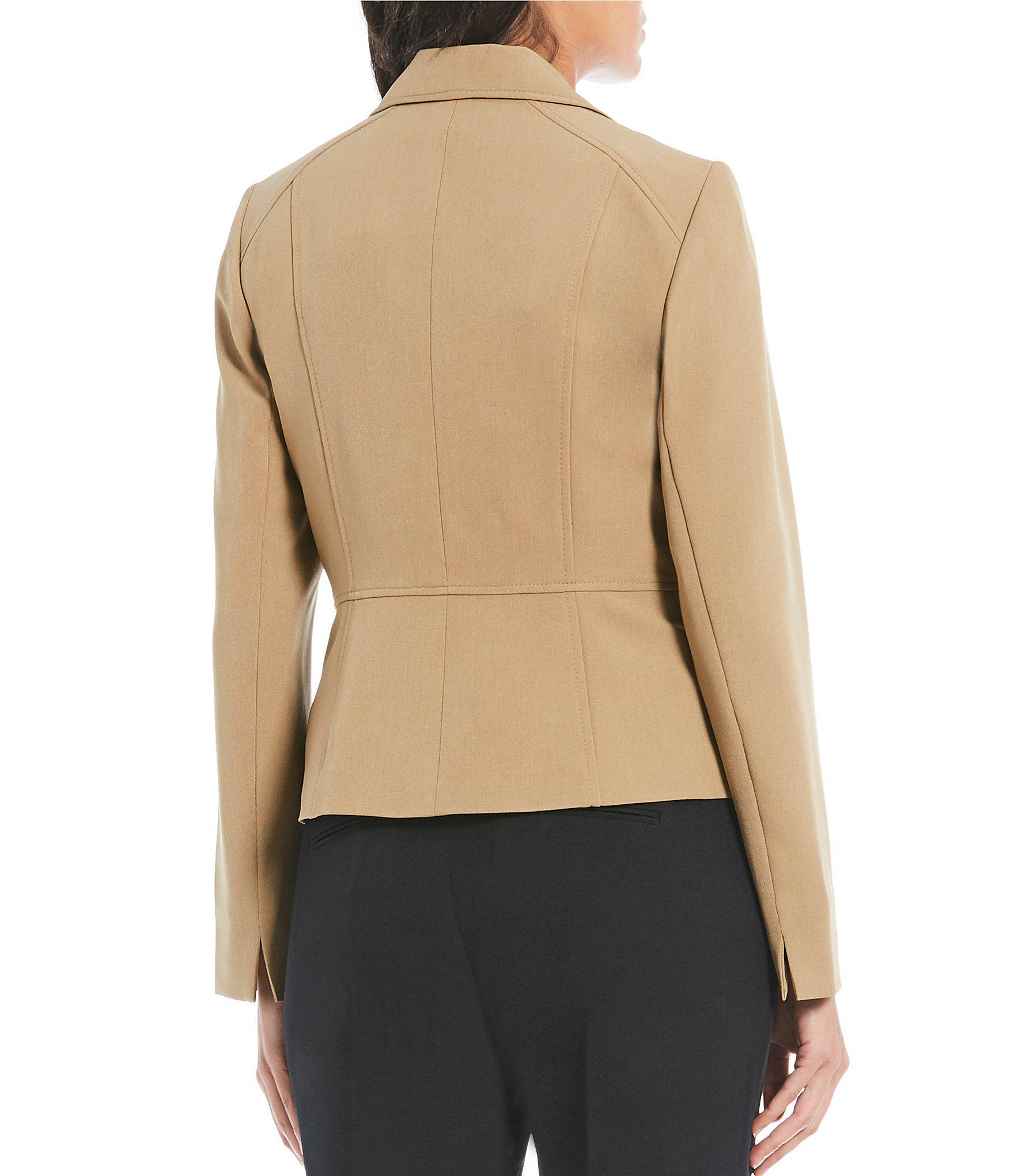 afea96429a0 Kasper - Natural Petite Size Stretch Crepe Notch Collar Jacket - Lyst. View  fullscreen
