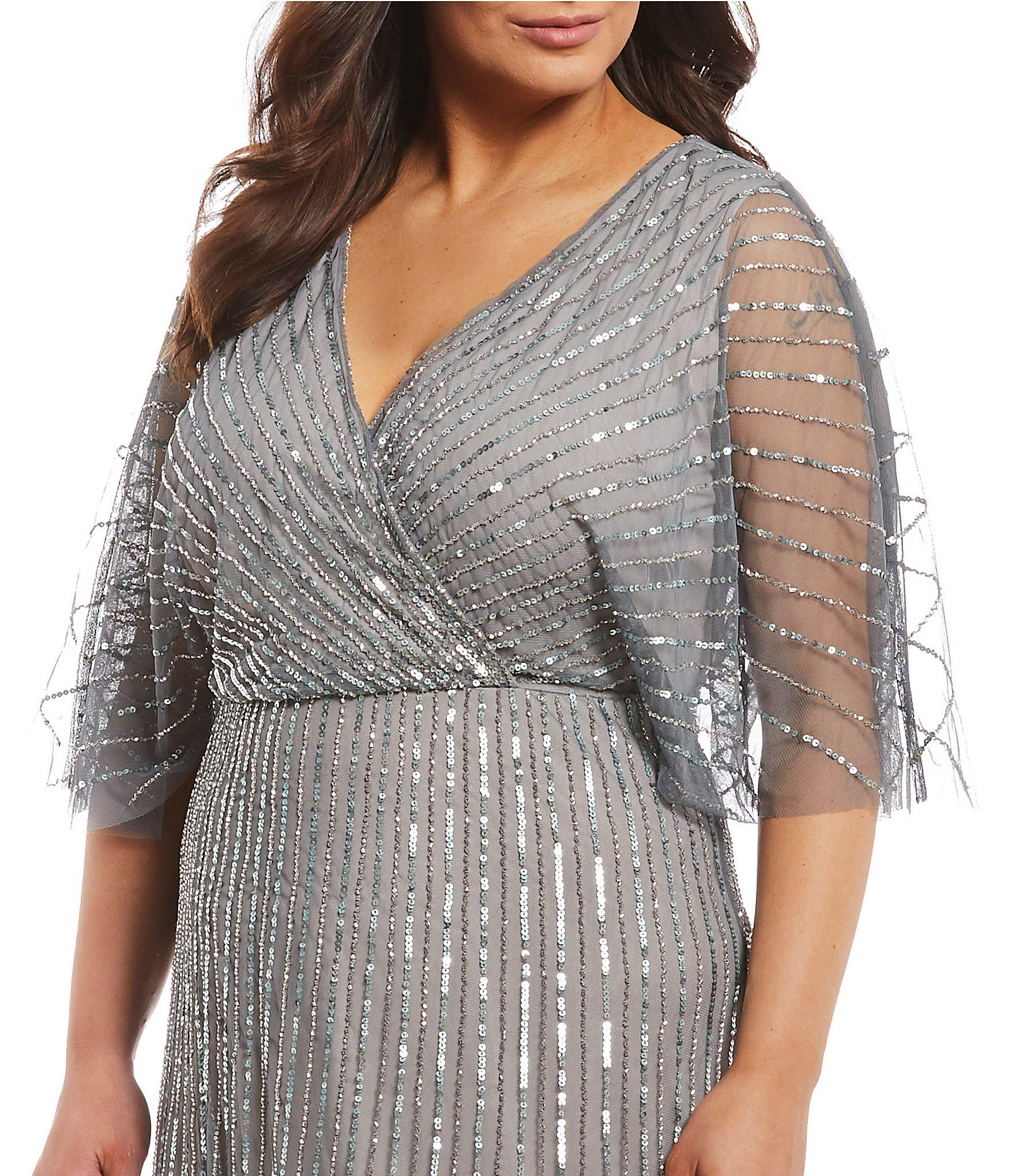 408a6f2494b Tap to visit site. Adrianna Papell - Metallic Plus Size Beaded Flutter  Sleeve Blouson ...