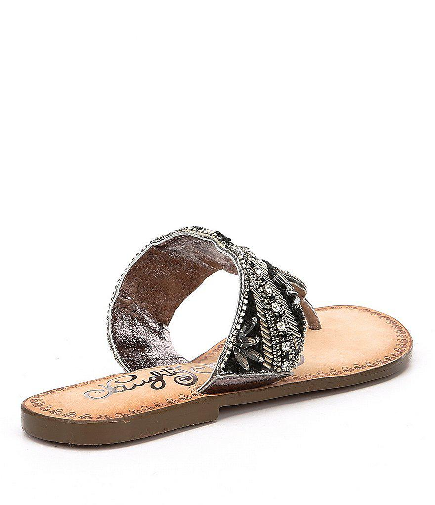 Amare Rhinestone Embellishment Thong Sandals 497KA
