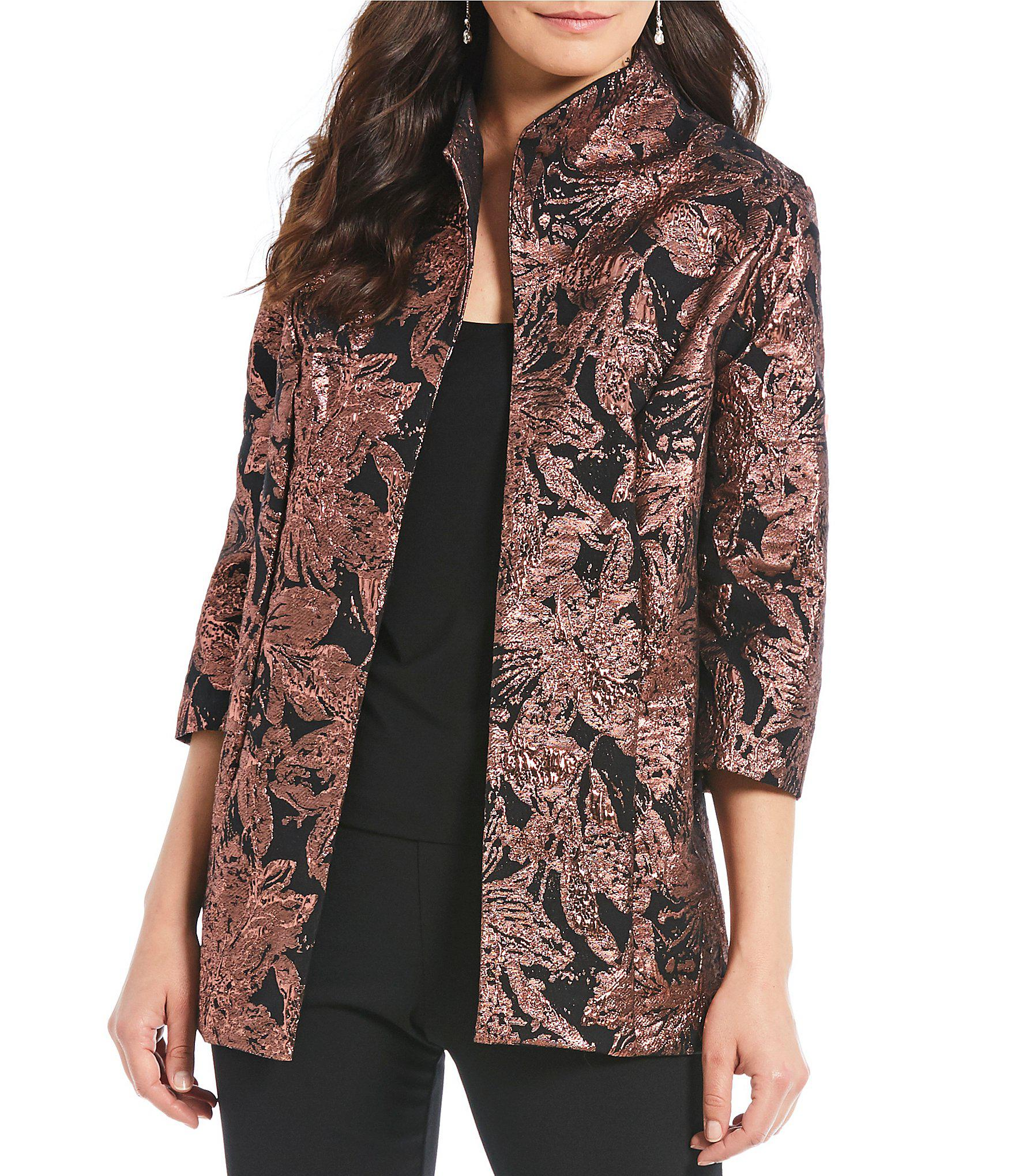 3bcf6fb37a5774 Lyst - Alex Evenings Jacquard Elongated Stand Collar Twinset in Black