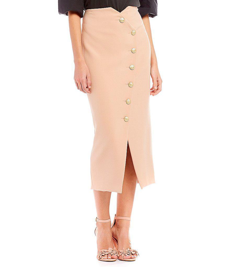 f23cb306b6 Gianni Bini Shelly Button Front Midi Skirt in Pink - Lyst