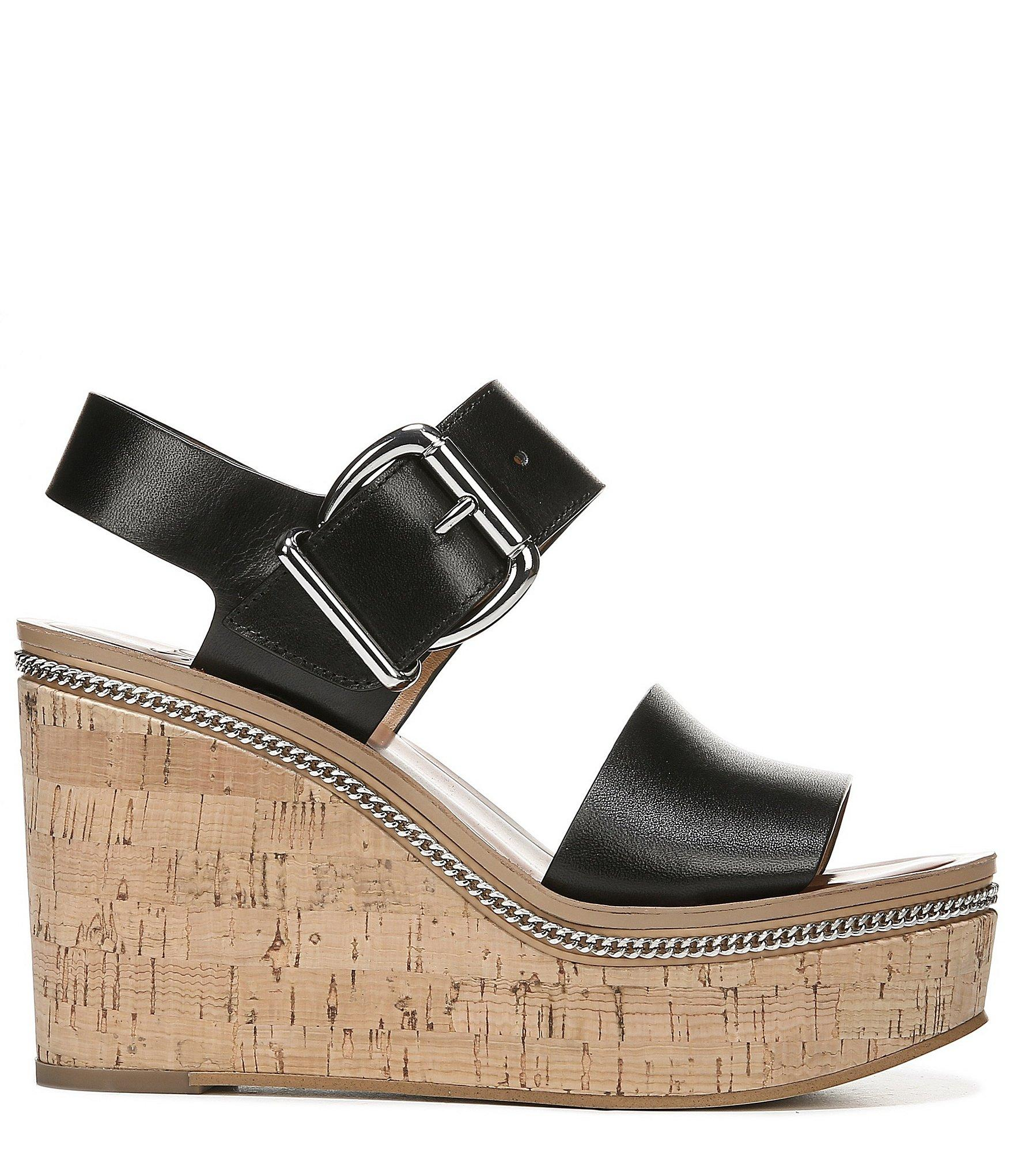 61617d971 Franco Sarto Black Sarto By Polly Leather Platform Cork Wedge Sandals. View  fullscreen