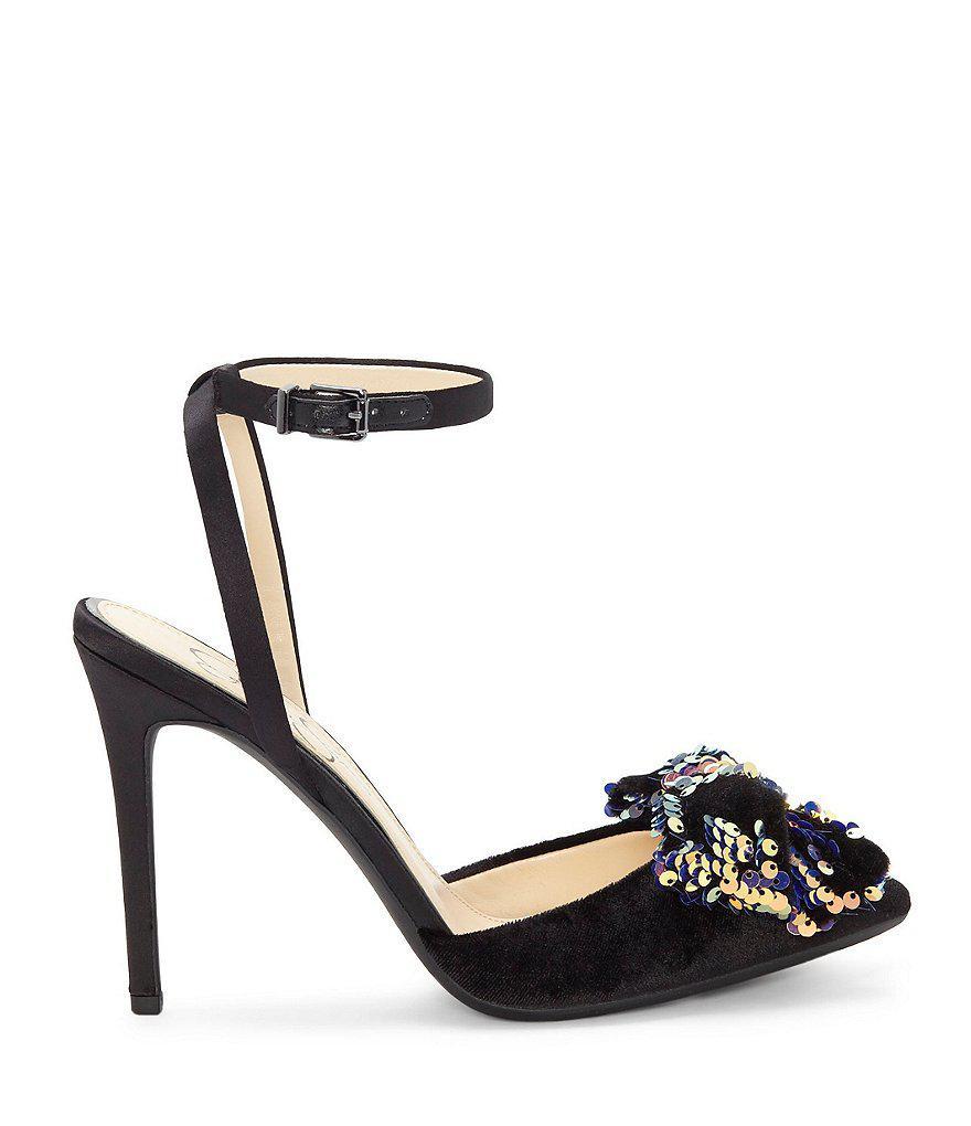 Jessica Simpson Pearlanna Velvet Sequin Bow Dress Sandals 2gLs7WSOQ
