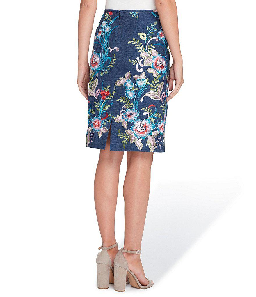 423c5428443c Tahari Floral Embroidered Chambray Denim Pencil Skirt in Blue - Lyst