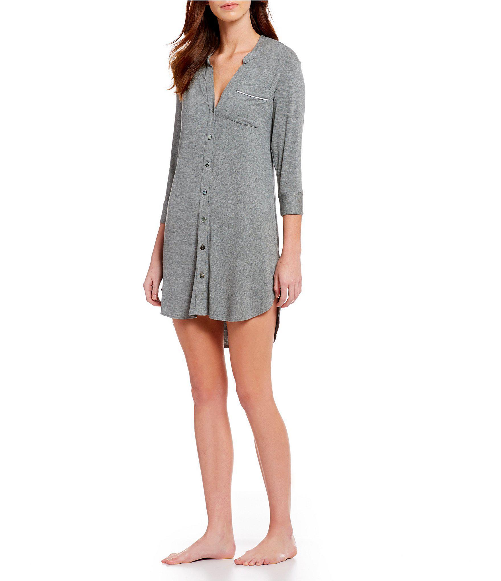 2b4347bcd2 Lyst - Ugg Vivian Solid Knit Sleep Shirt in Gray