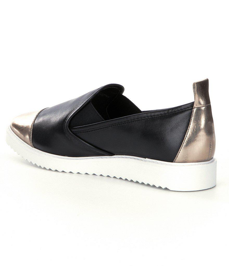 KARL LAGERFELD PARIS Cler Metallic Toe Leather Slip-Ons jpIwHwev