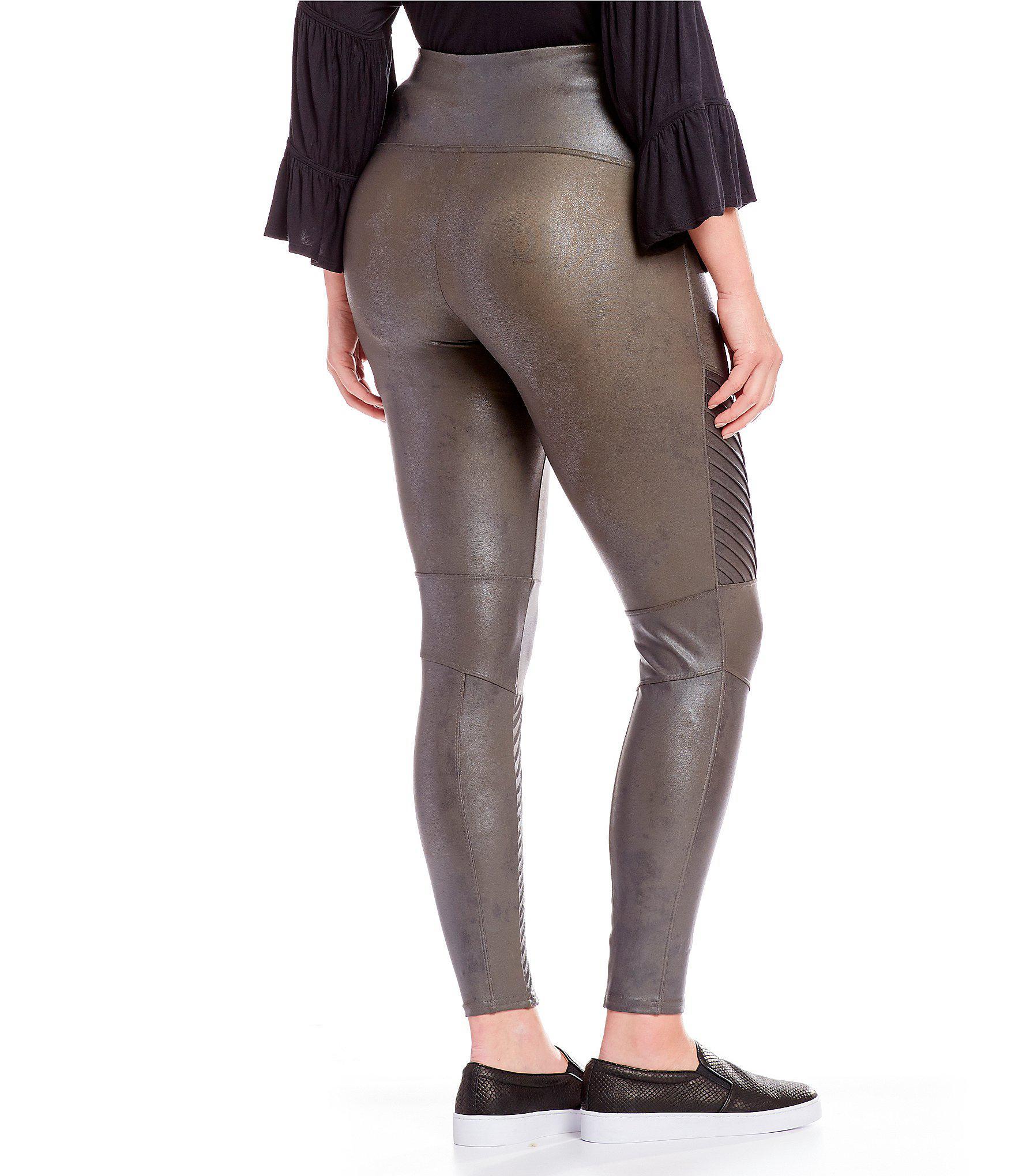 441ff2ad8ac Lyst - Spanx Plus Faux-leather Moto Leggings in Black
