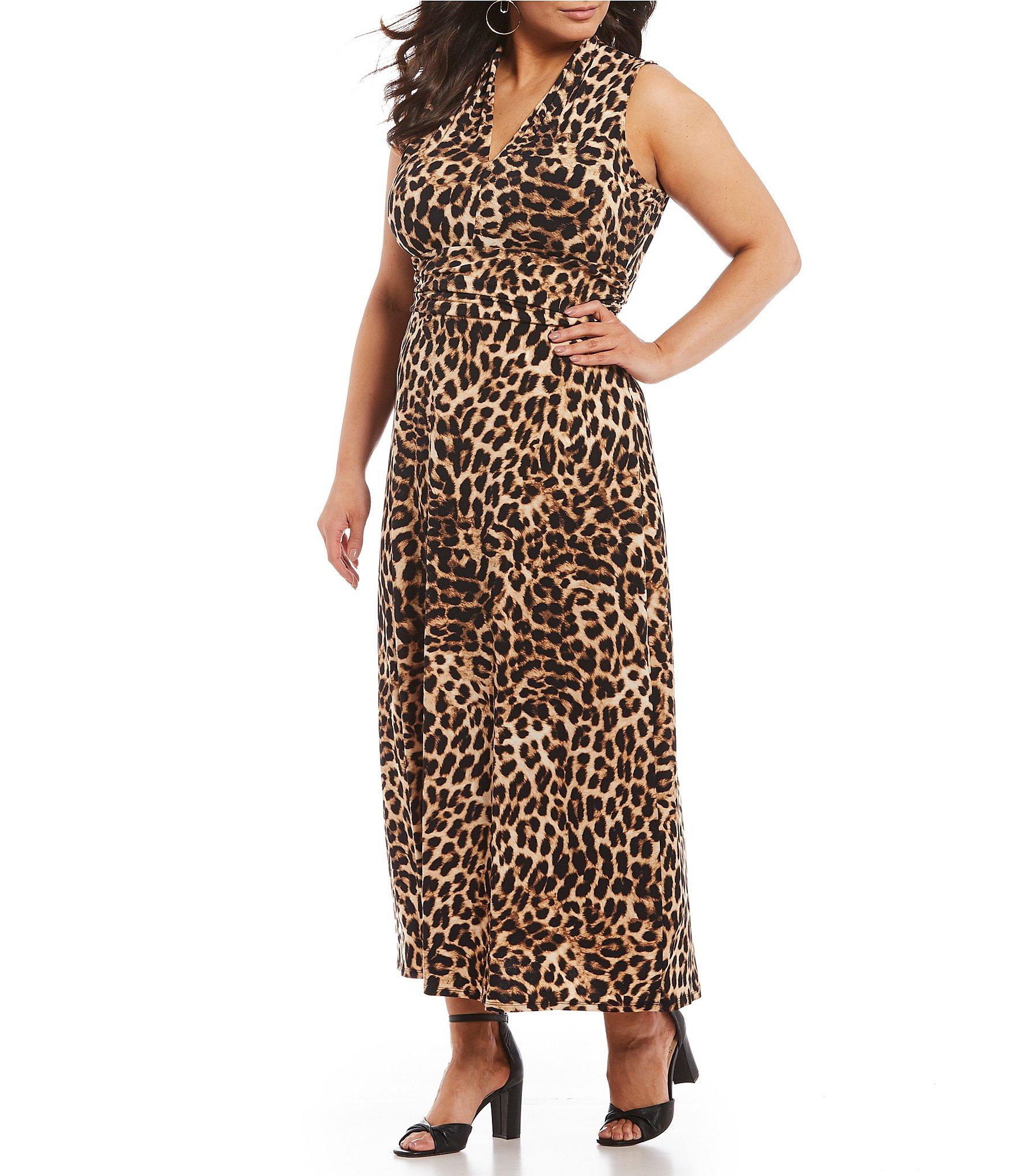 9280150c5f7 Vince Camuto. Women s Black Plus Size Sleeveless Halter Leopard Maxi Dress