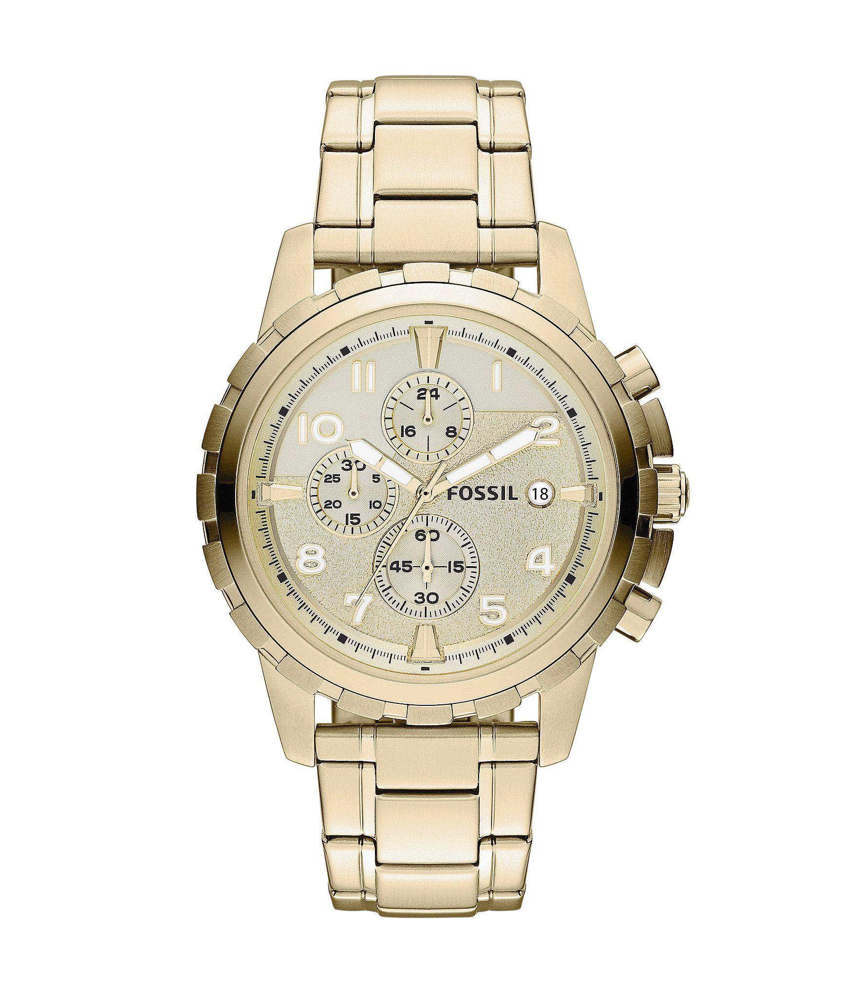 aae9abe2cdb Lyst - Fossil Dean Goldtone Stainless Steel Chronograph Watch in ...