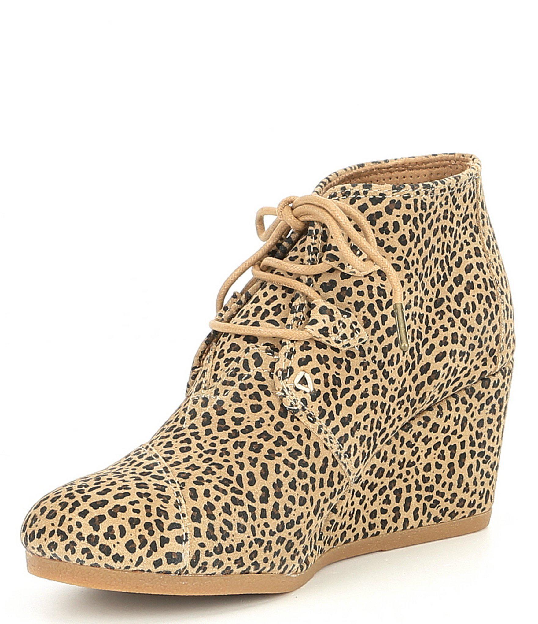 134443daa8e7 Lyst - TOMS Kala Leopard Print Wedge Booties in Brown