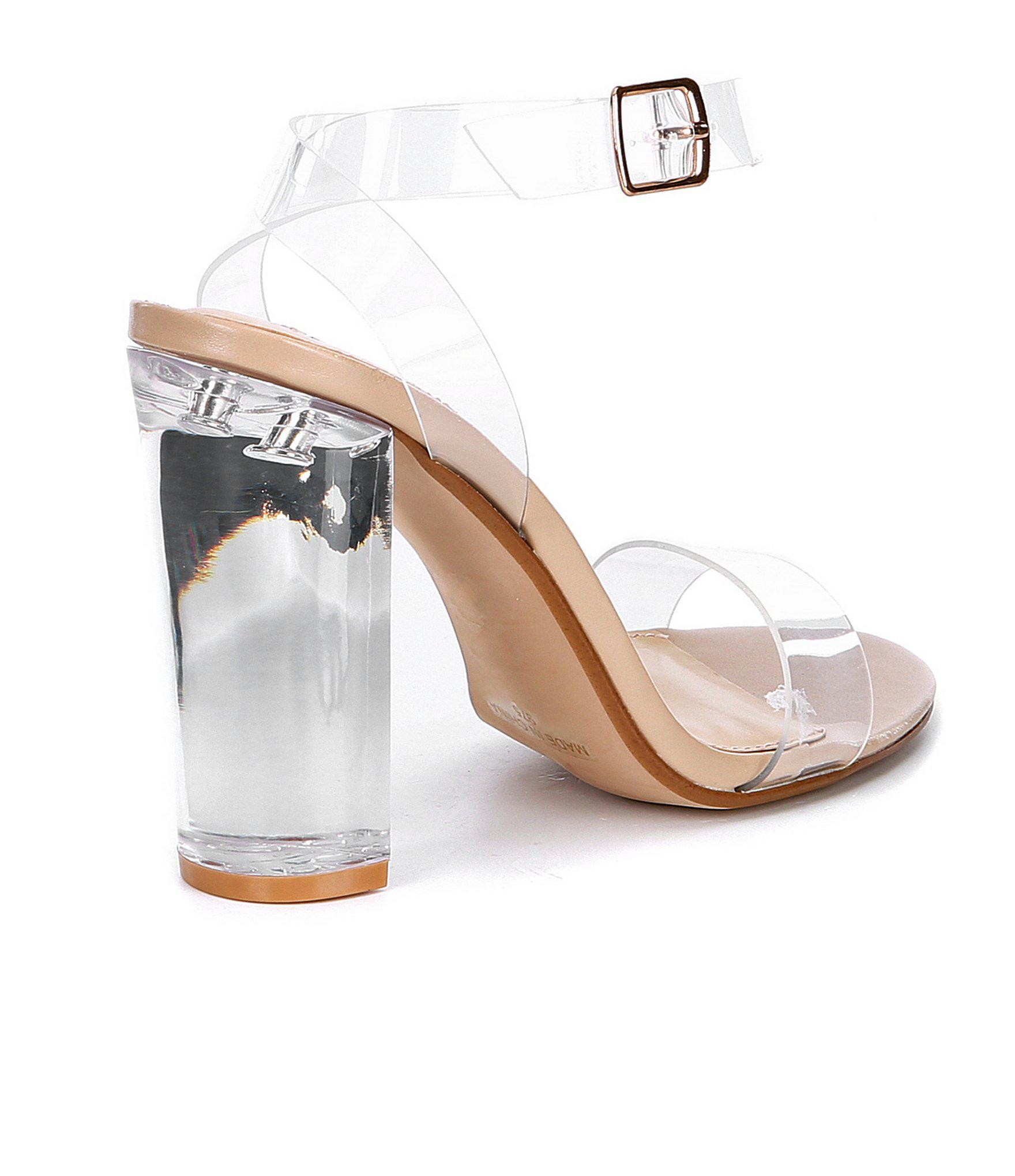 1aaea495f2c7c Steve Madden - Multicolor Camille Lucite Clear Block Heel Dress Sandals -  Lyst. View fullscreen