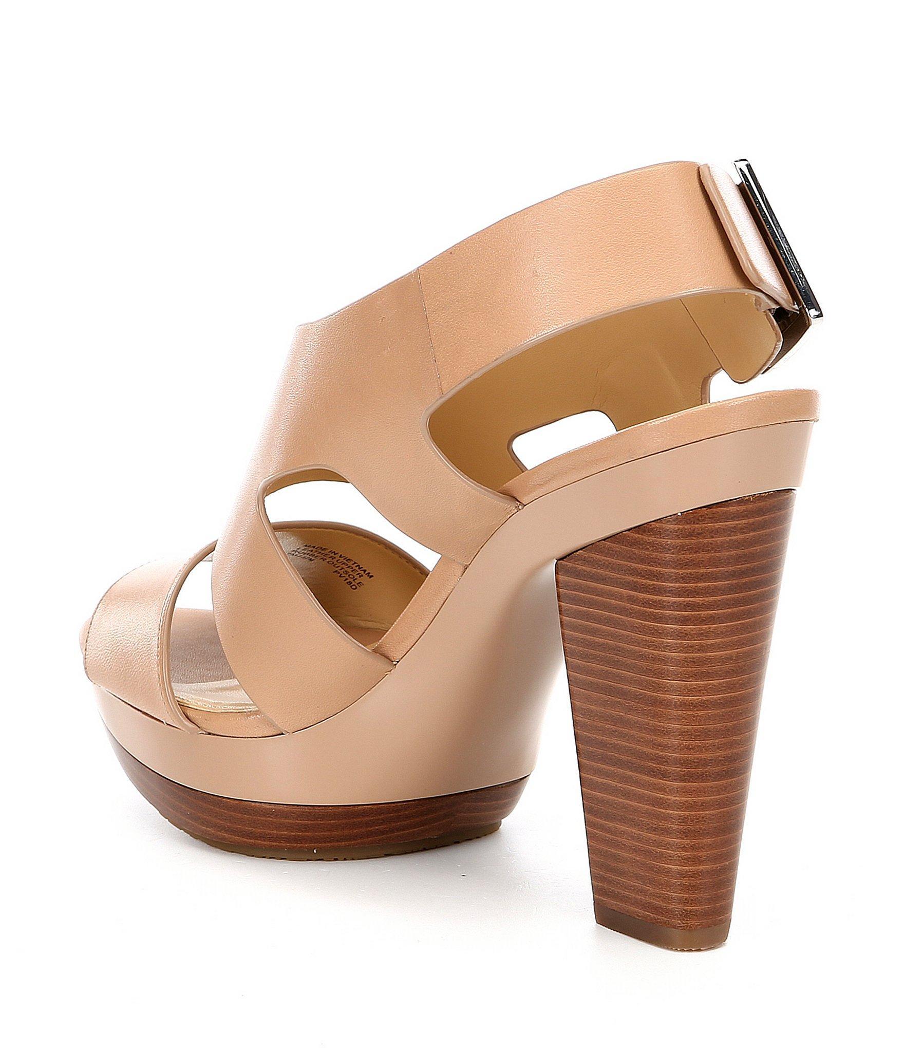 f87b6de599a MICHAEL Michael Kors - Brown Carla Leather Platform Block Heel Sandals -  Lyst. View fullscreen