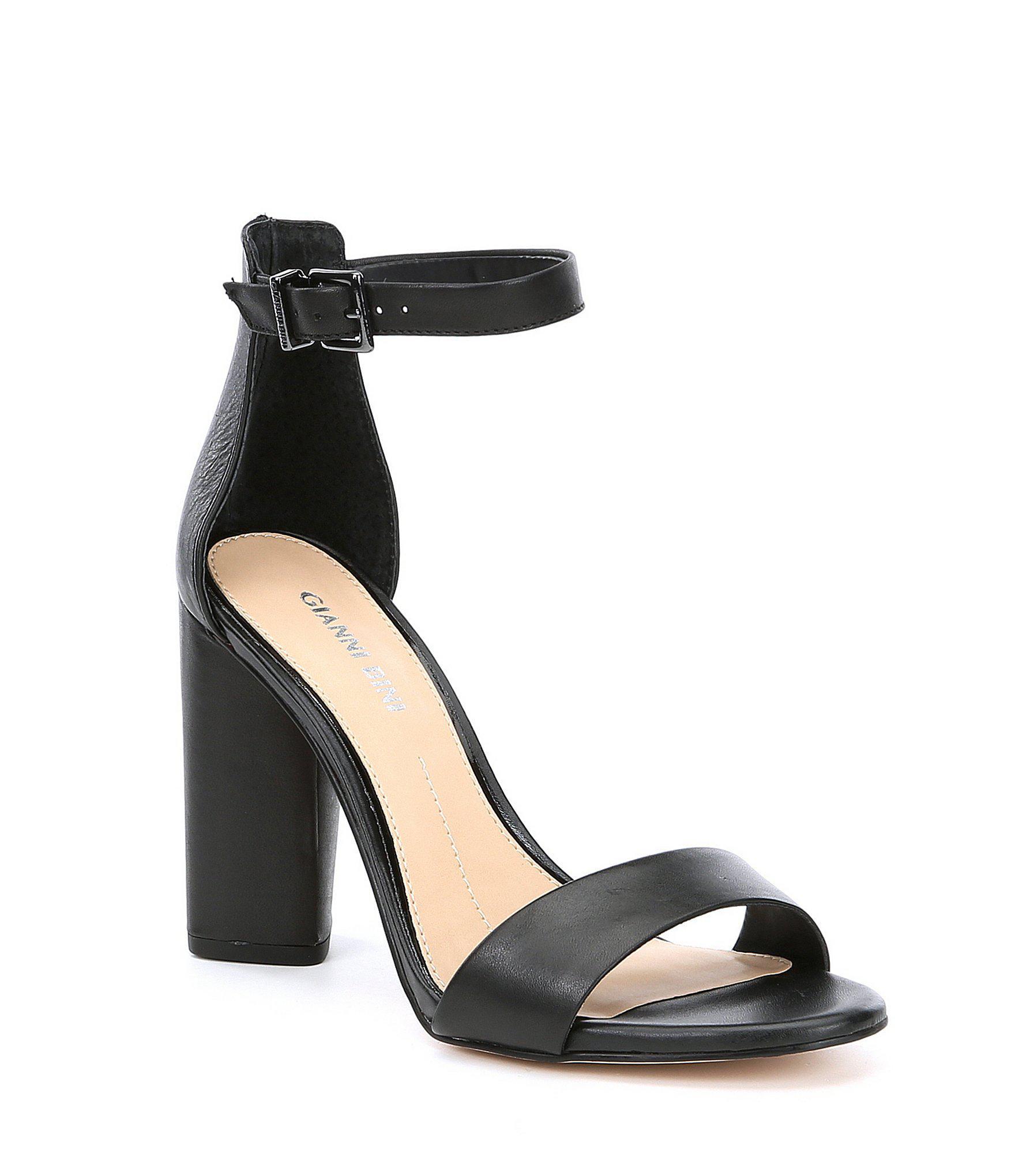 60032d1e0b94 Gianni Bini. Women s Black Joenah Two Piece Ankle Strap Block Heel Dress  Sandals