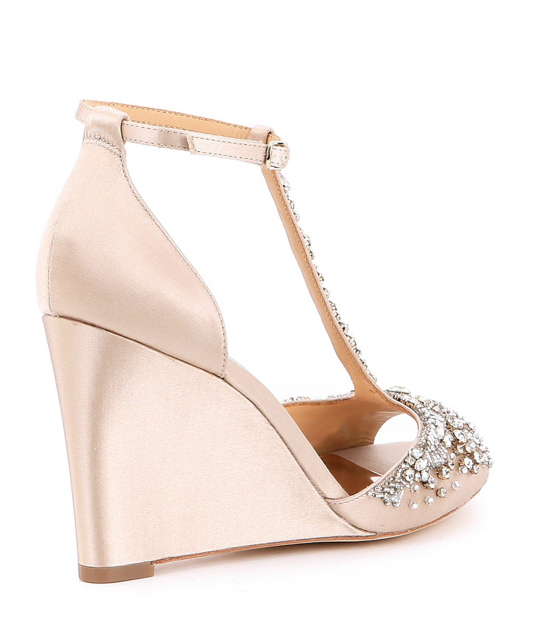 75430daa8fa Badgley Mischka - Natural Sarah T-strap Wedge Dress Sandals - Lyst. View  fullscreen
