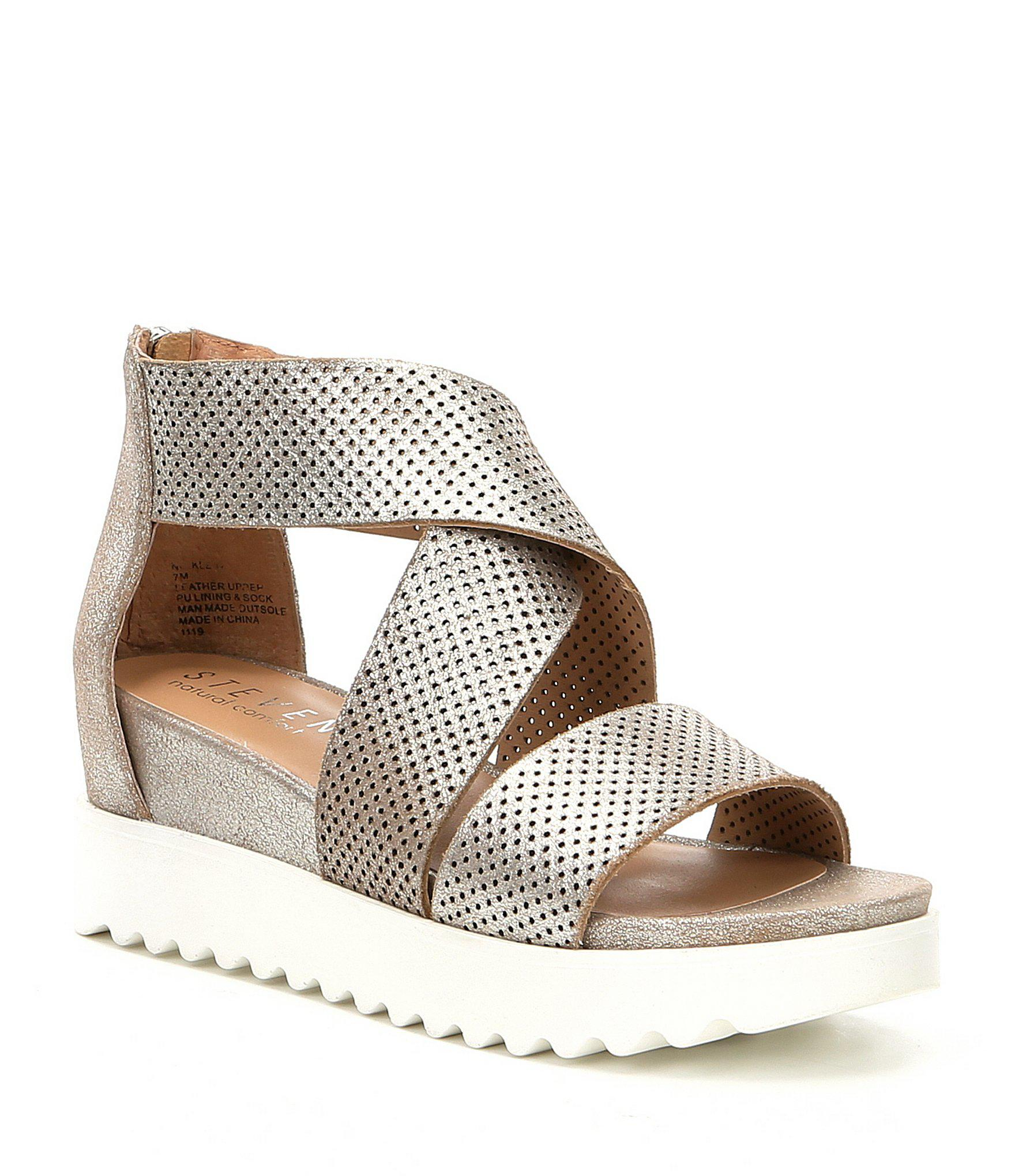 5d661b648d5 Lyst - Steve Madden Steven By Nc-klein Perforated Platform Wedge ...