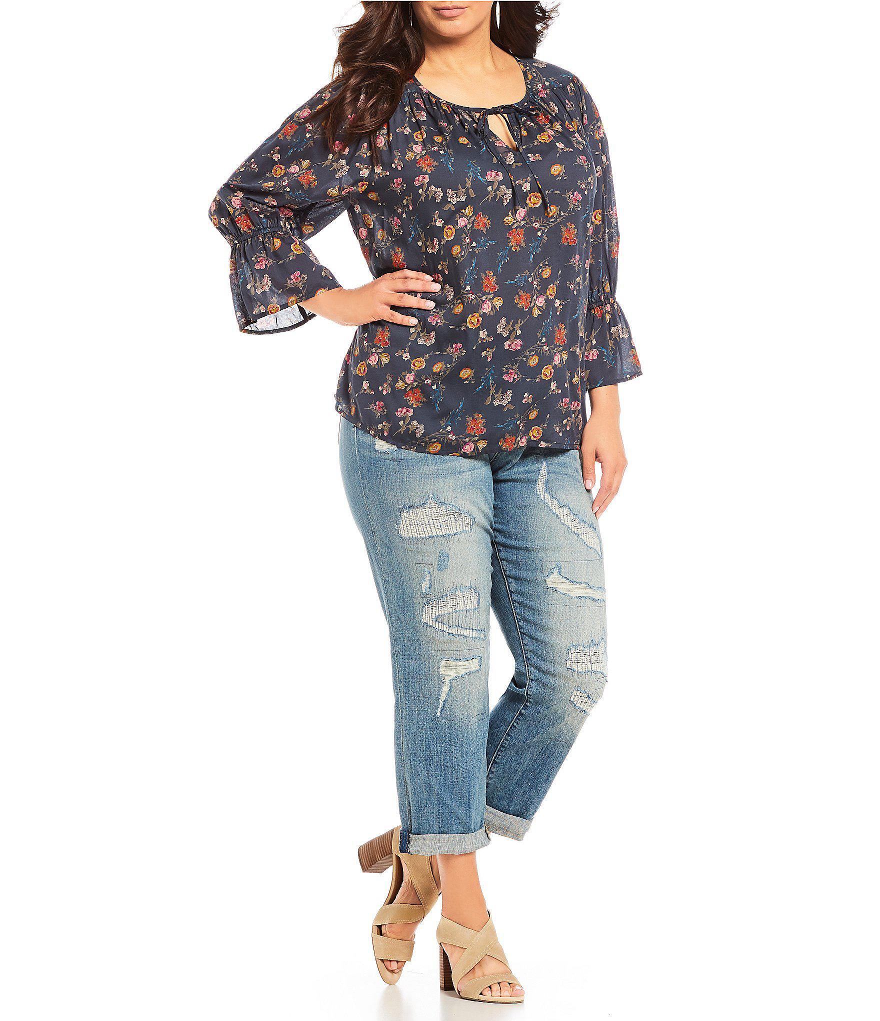ad52274237f5 https://www.lyst.com/clothing/lucky-brand-plus-size-floral-print-tie-v ...