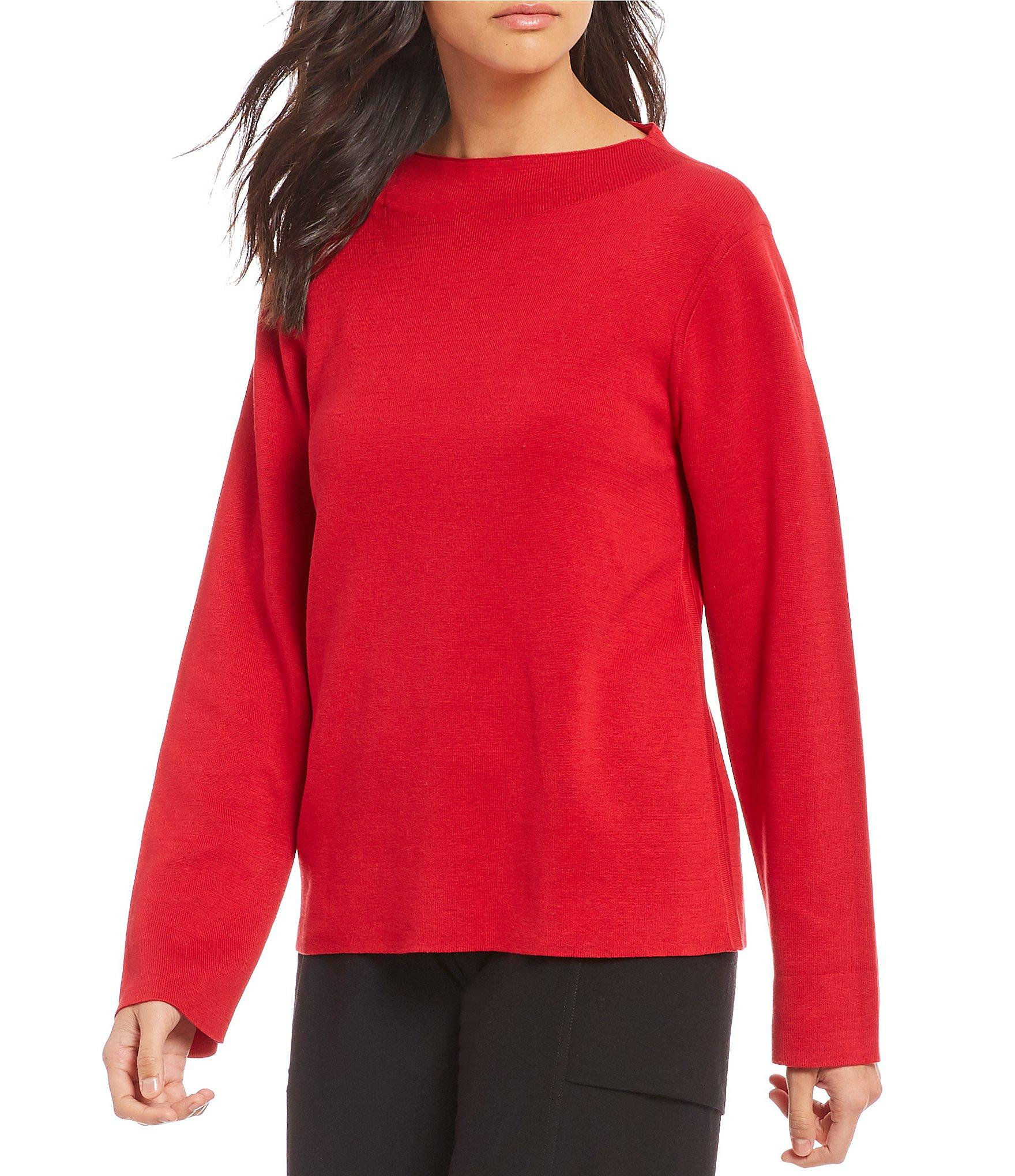 5ced7d655f0 Lyst - Eileen Fisher Funnel Neck Reversible Box Top in Red