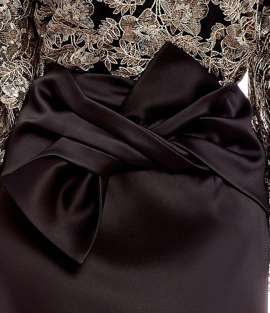 1e0de53bc0 Antonio Melani Adelaide Stretch Satin Exaggerated Bow Skirt in Black ...