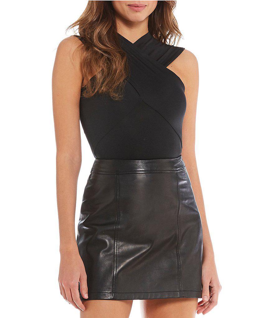 6c7a1b4e6ff Gianni Bini Mandy Wrap Style Bodysuit in Black - Lyst