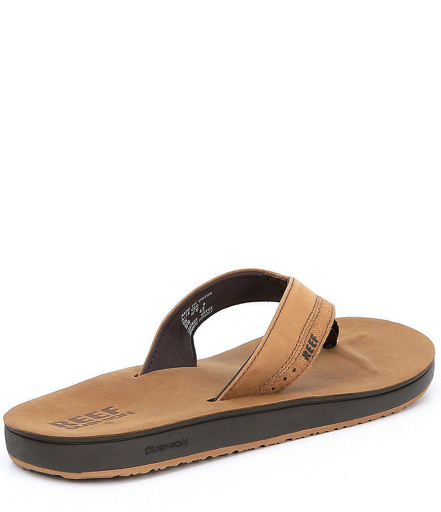 Reef Brown Men S Leather Contoured Cushion Sandals For Men