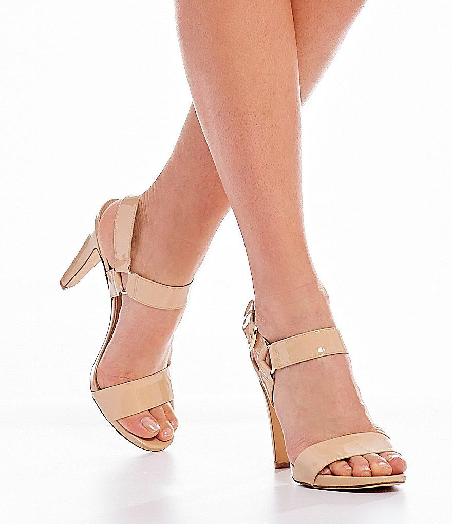 KARL LAGERFELD PARIS Cieone Metallic Leather Ankle Strap Dress Sandals n46ZM
