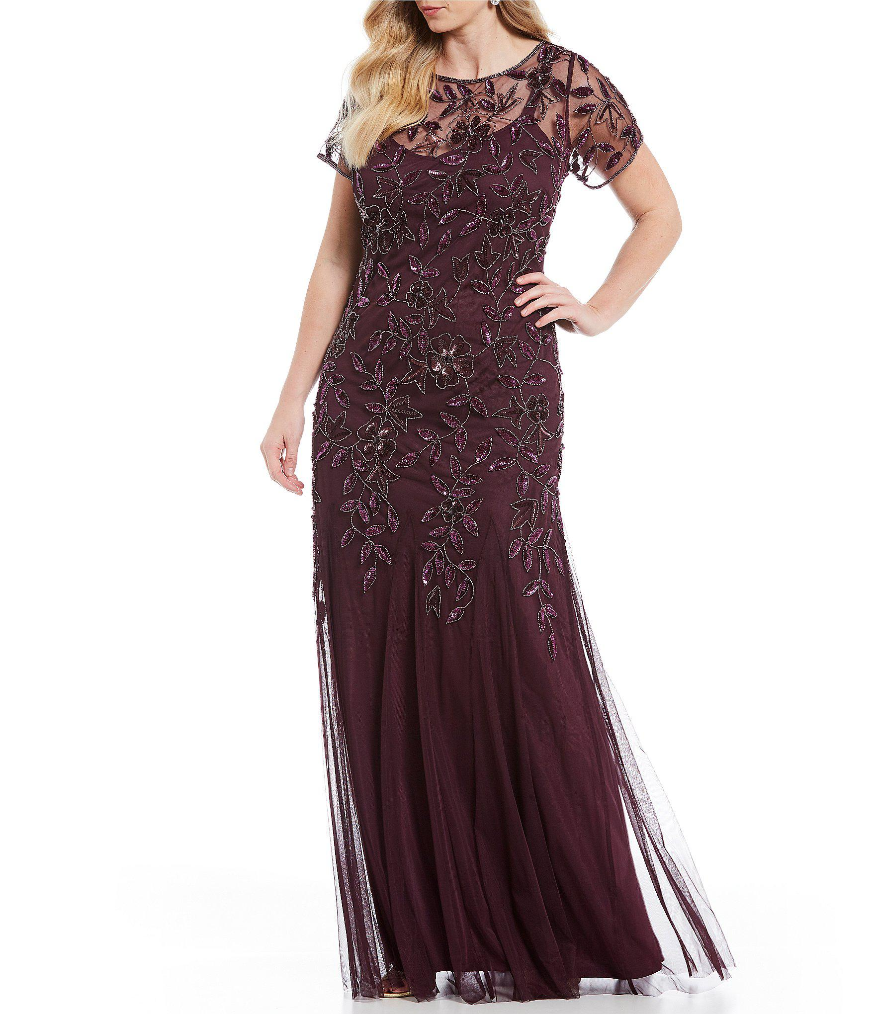 830cb08496322 Lyst - Adrianna Papell Plus Floral Beaded Gown in Purple