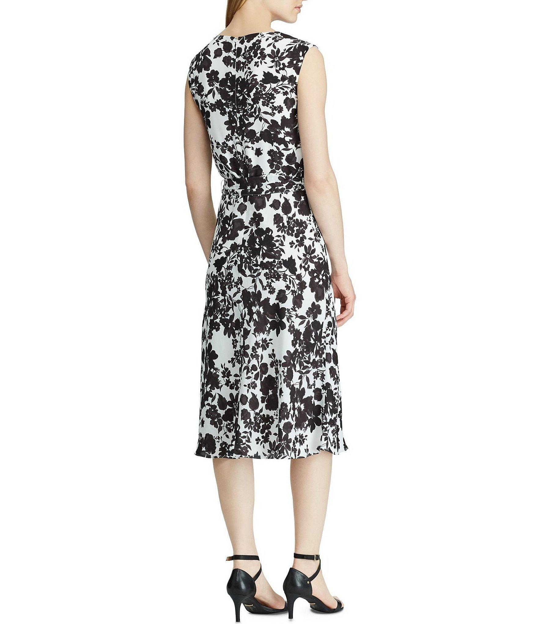 4af586659c9 Lyst - Lauren by Ralph Lauren Monotone Floral Print Sleeveless ...