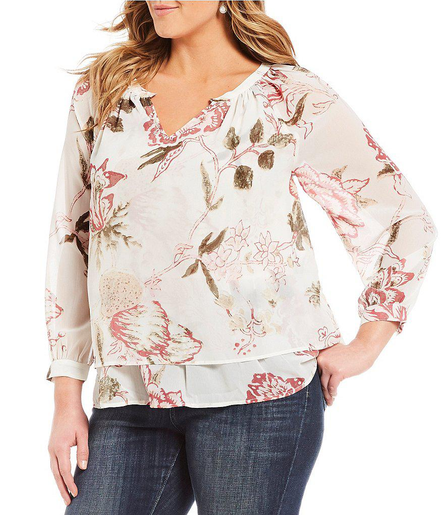 bd5f25d5f893a Lyst - Lucky Brand Plus Jenna Long Sleeve Floral Print Peasant Top