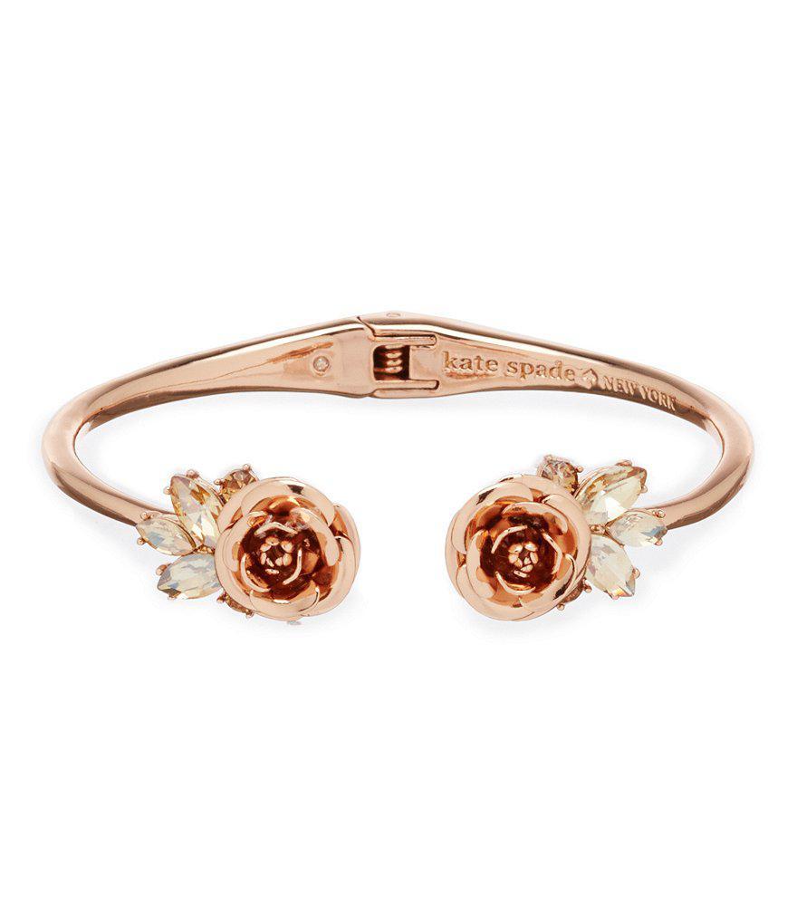ffab2b8ccb401 Kate Spade Metallic Garden Garland Rose Open Hinged Cuff Bracelet