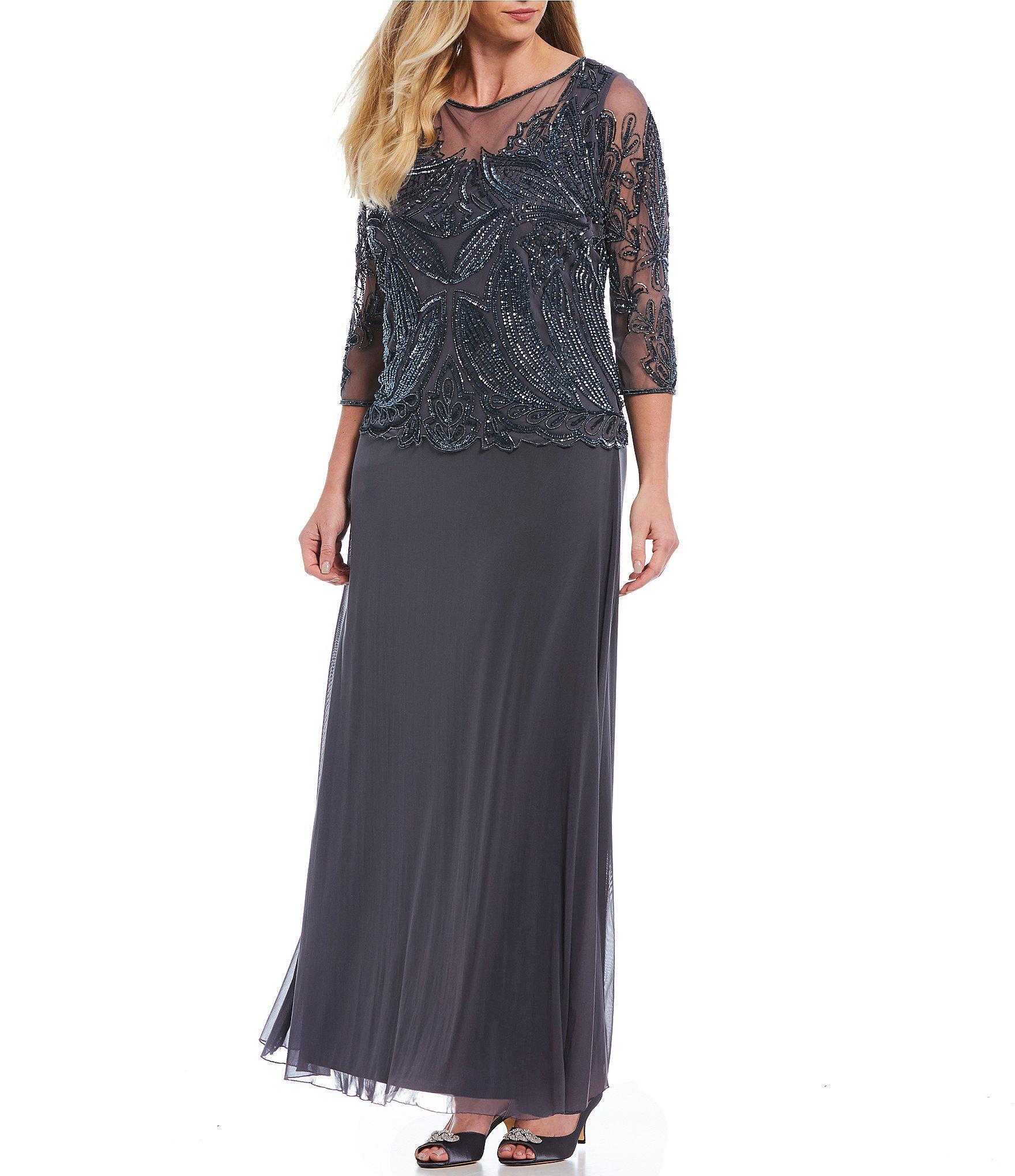 ea9056cb99dbd Lyst - Pisarro Nights Plus Floral Beaded Bodice Mock 2-piece Dress ...