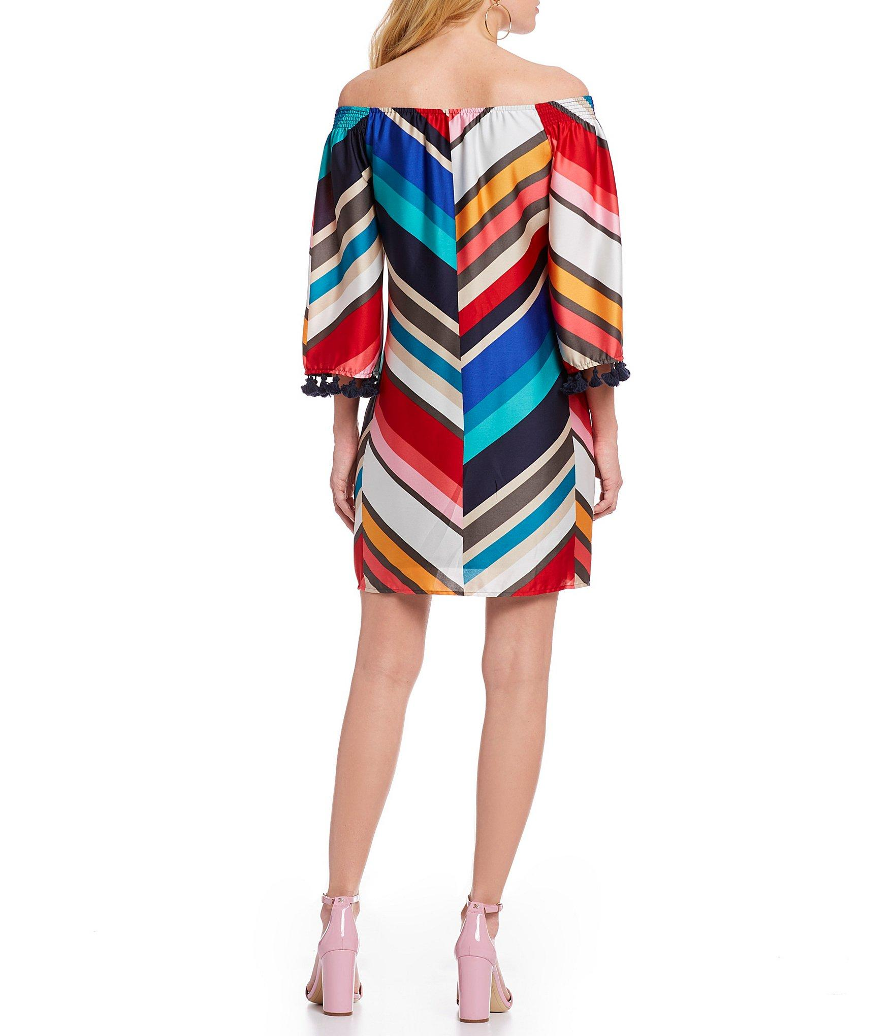 ad5f968bc35 Lyst - Trina Turk Amaris Off-the-shoulder Chevron 3/4 Bell Sleeve ...