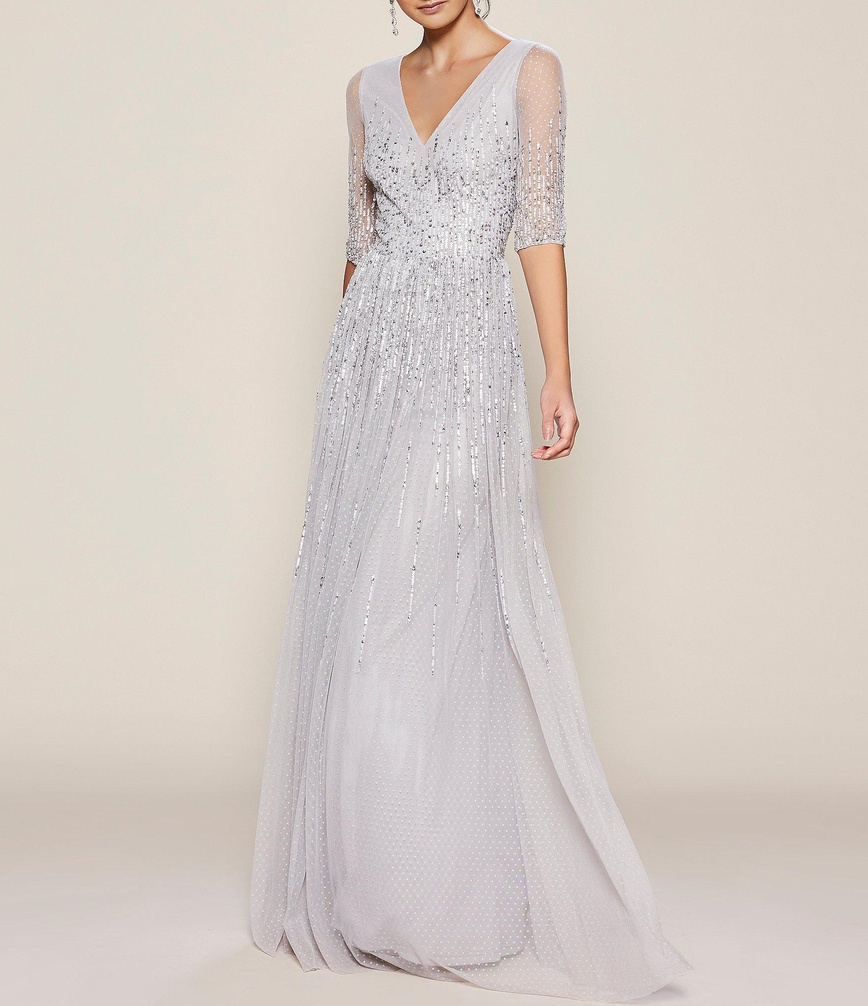 4758fd09a7e8 Adrianna Papell V Neck Sequin Gown in Metallic - Lyst