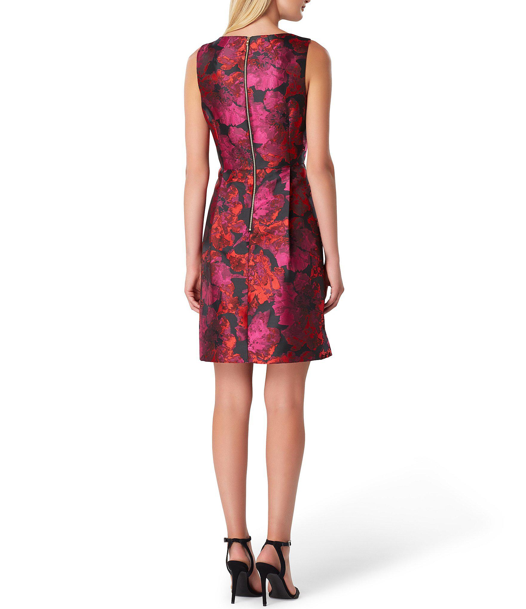 8773a571fe4 Tahari - Red Petite Bow Front Floral Printed Metallic Jacquard A-line Dress  - Lyst. View fullscreen