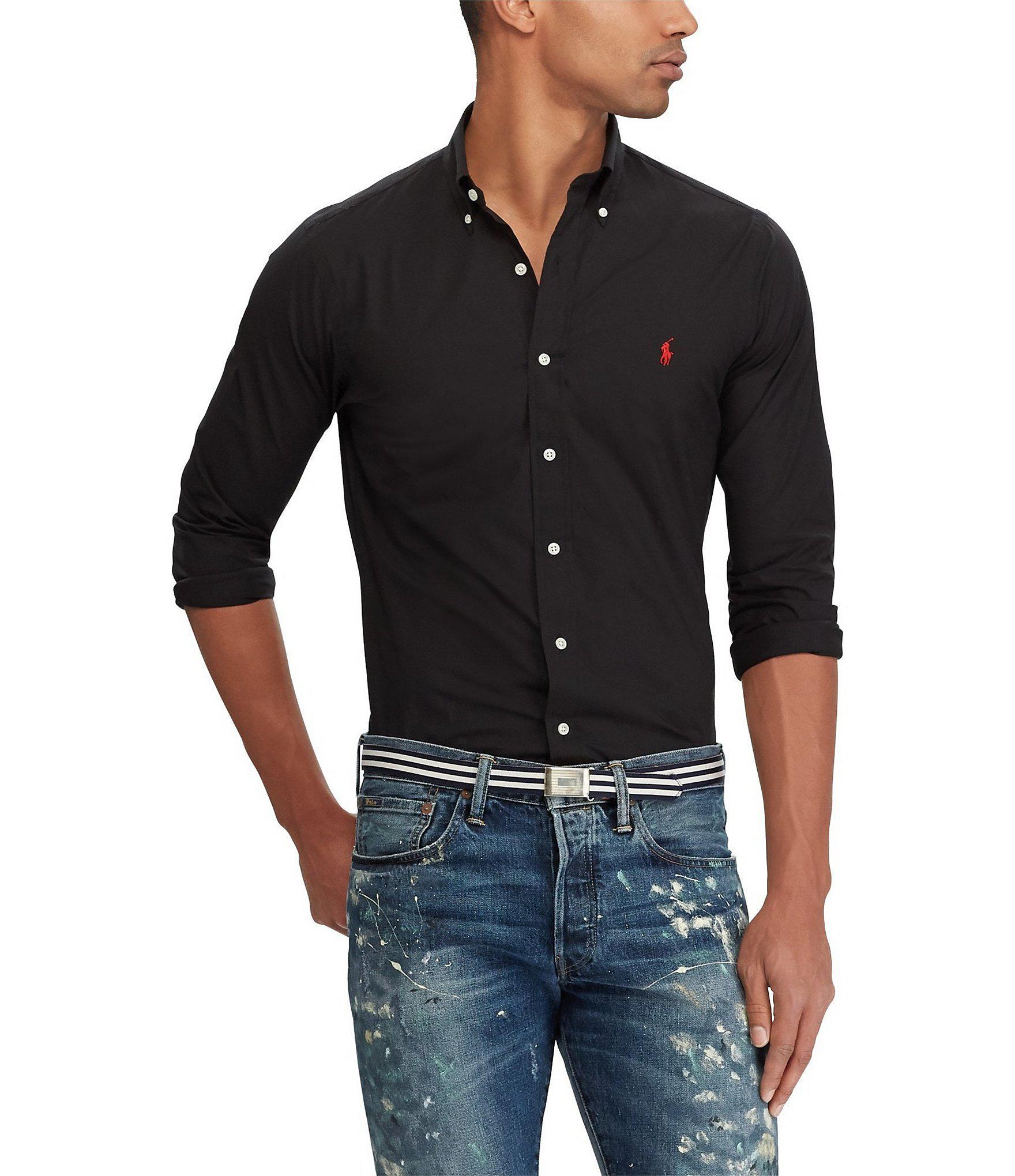 8c791d958 Polo Ralph Lauren. Men s Black Solid Stretch Poplin Long-sleeve Woven Shirt