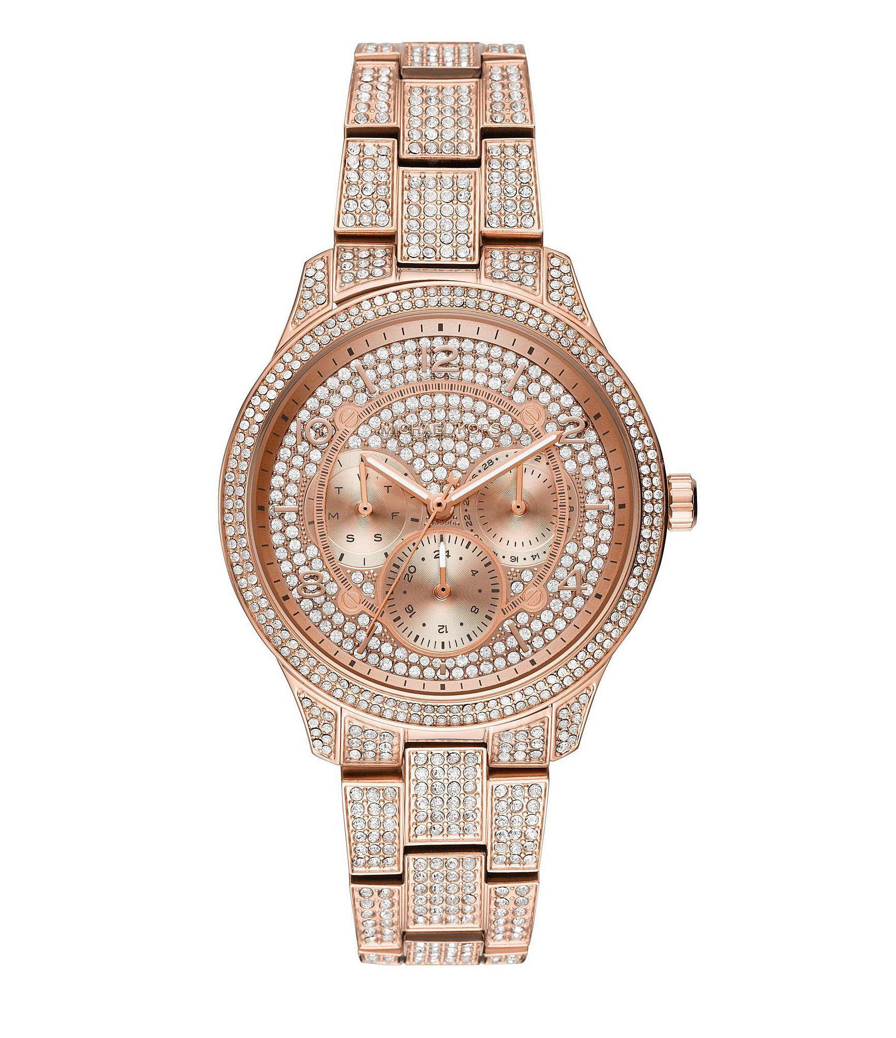 ad66ac157da1 Michael Kors. Women s Metallic Runway Multifunction Pave Rose Gold-tone  Stainless Steel Watch