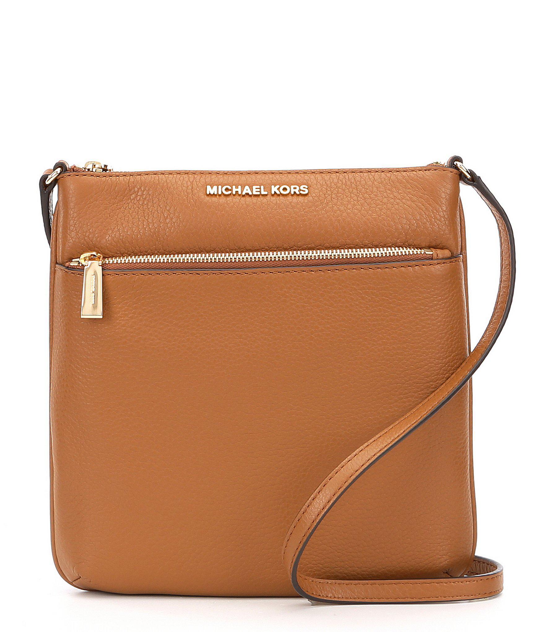 2345f2f181ea Lyst - MICHAEL Michael Kors Riley Small Flat Cross-body Bag in Brown