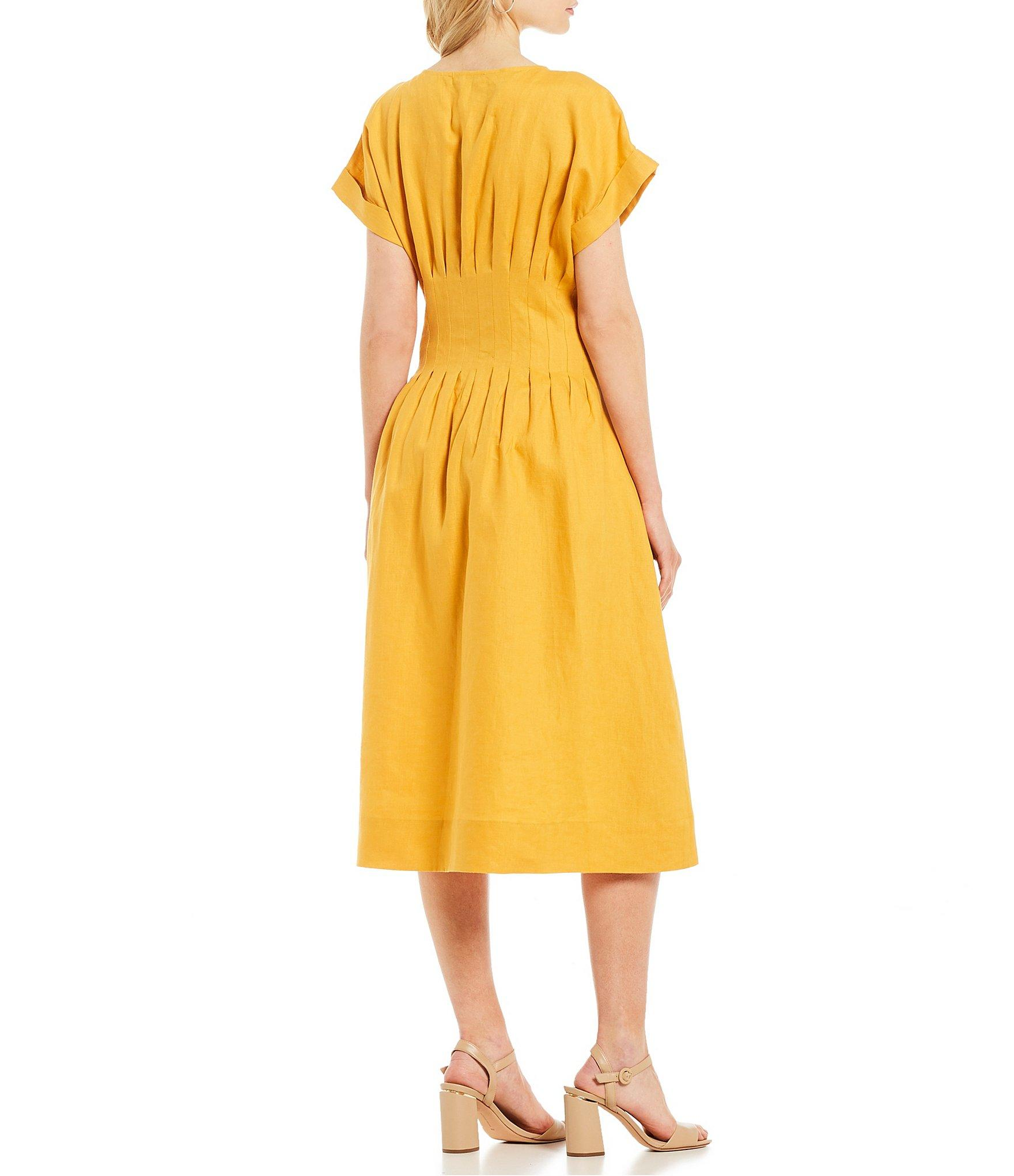 8bdd1e80988 Antonio Melani - Yellow Ellie Linen Short Sleeve V-neck Fit   Flare Midi  Dress. View fullscreen