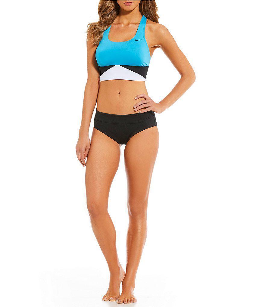 0a1c90a69ad81e Lyst - Nike Prism Crossback Midkini Swimsuit Bra Top in Blue