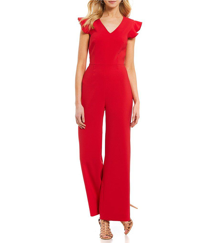 b20d62797292a Lyst - Antonio Melani Tina Flutter Sleeve Jumpsuit in Red