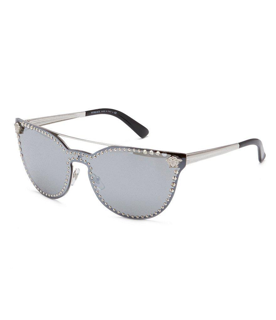cfc27448a8cb Lyst - Versace Medusa Logo Studded Mirrored Cat-eye Sunglasses in ...